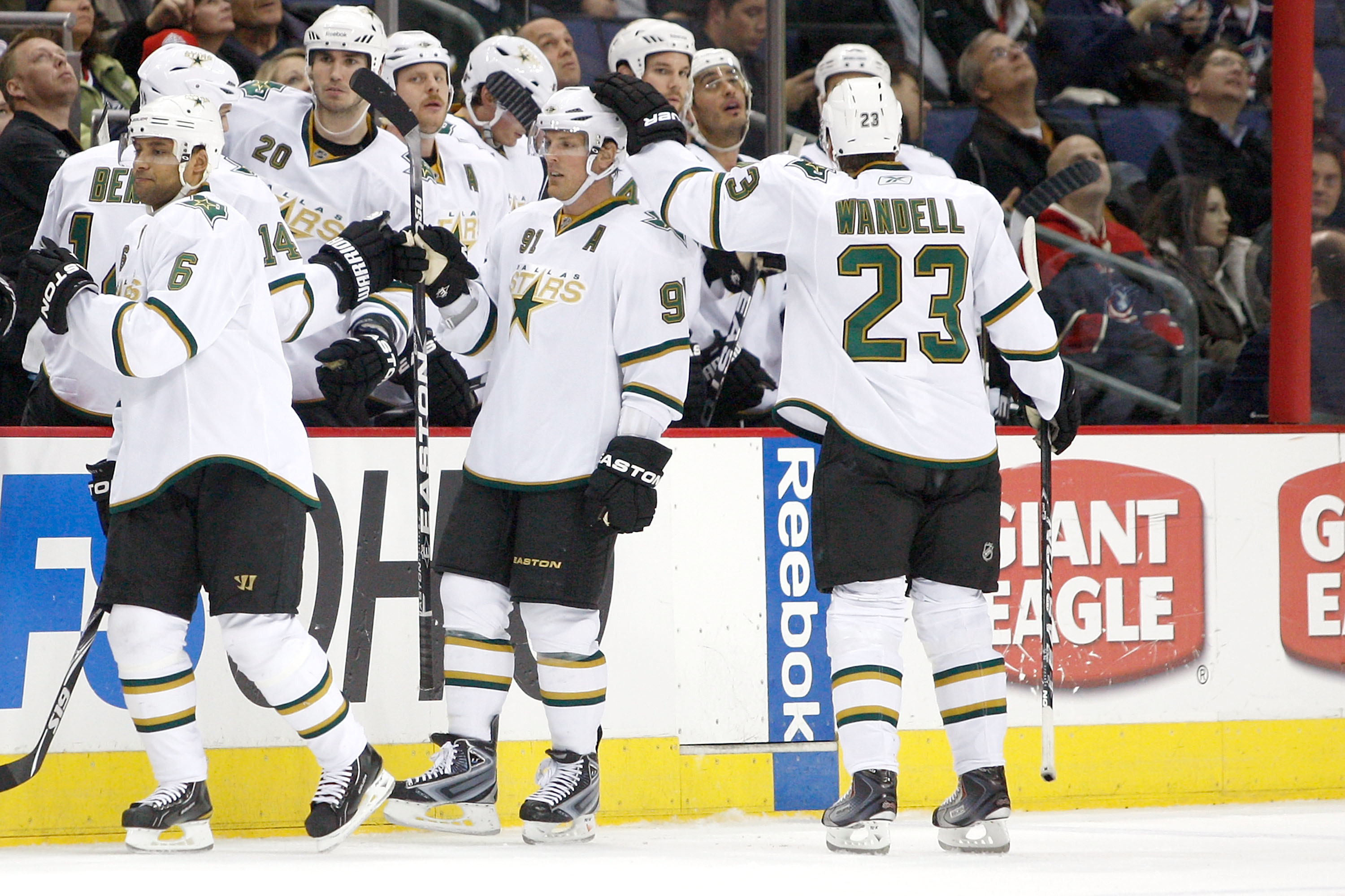COLUMBUS, OH - DECEMBER 6:  Brad Richards #91 of the Dallas Stars is congratulated by Tom Wandell #23 of the Dallas Stars after scoring to tie the game against the Columbus Blue Jackets on December 6, 2010 at Nationwide Arena in Columbus, Ohio.  (Photo by