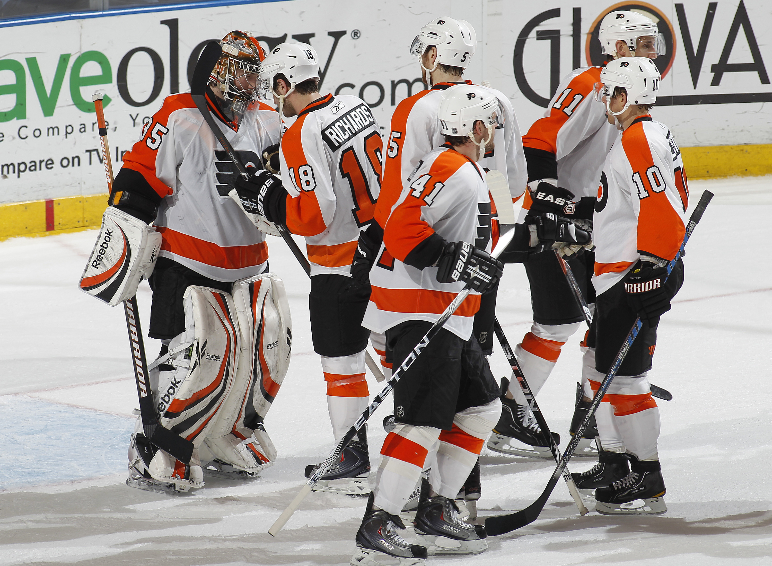 SUNRISE, FL - FEBRUARY 16: Goaltender Sergei Bobrovsky #35 of the Philadelphia Flyers is congratulated by teammates after defeating the Florida Panthers on February 16, 2011 at the BankAtlantic Center in Sunrise, Florida. The Flyers defeated the Panthers