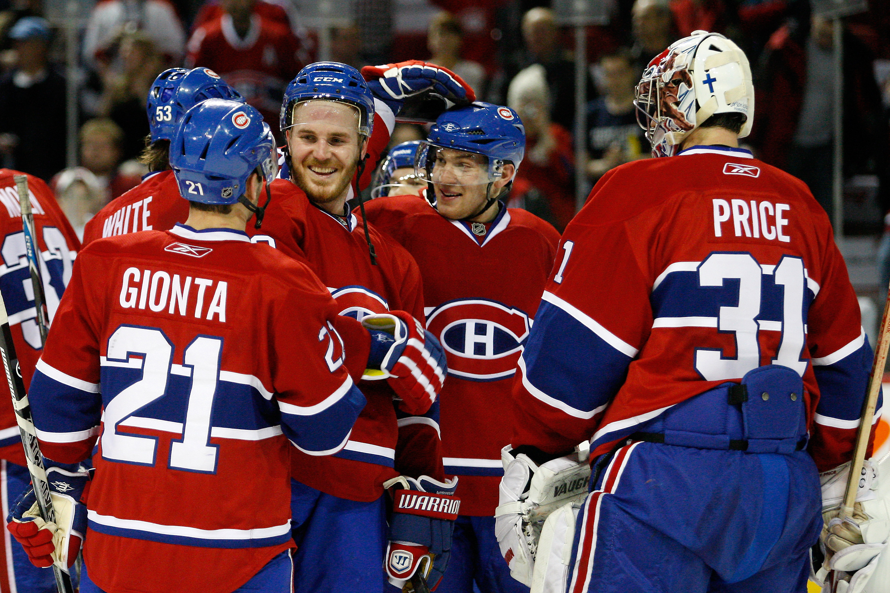 MONTREAL, CANADA - FEBRUARY 12:  Members of the Montreal Canadiens celebrate their 3-0 victory over the Toronto Maple Leafs during the NHL game at the Bell Centre on February 12, 2011 in Montreal, Quebec, Canada.  The Canadiens defeated the Maple Leafs 3-