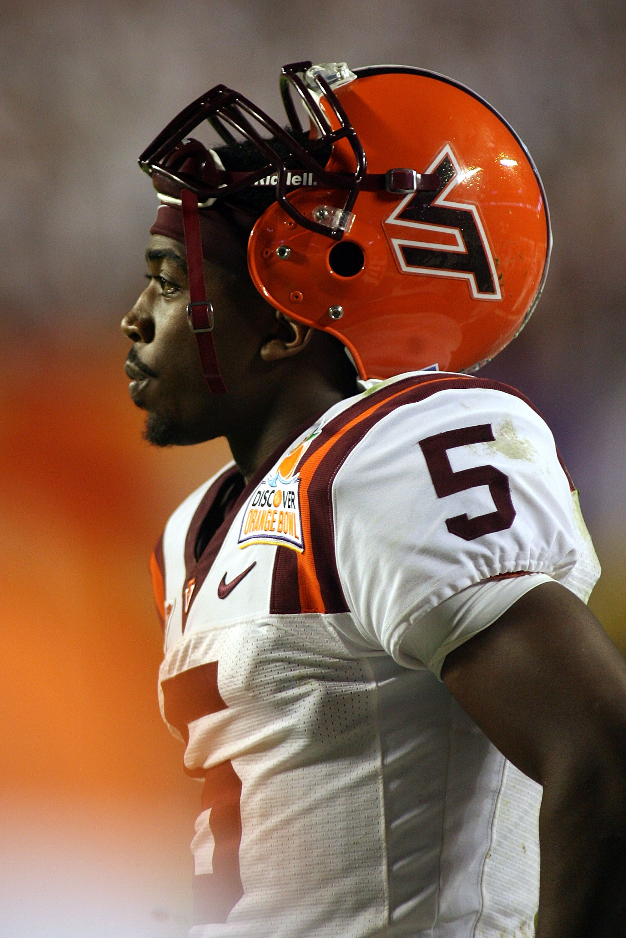 MIAMI, FL - JANUARY 03:  Tyrod Taylor #5 of the Virginia Tech Hokies looks on against the Stanford Cardinal during the 2011 Discover Orange Bowl at Sun Life Stadium on January 3, 2011 in Miami, Florida. Stanford won 40-12.  (Photo by Marc Serota/Getty Ima