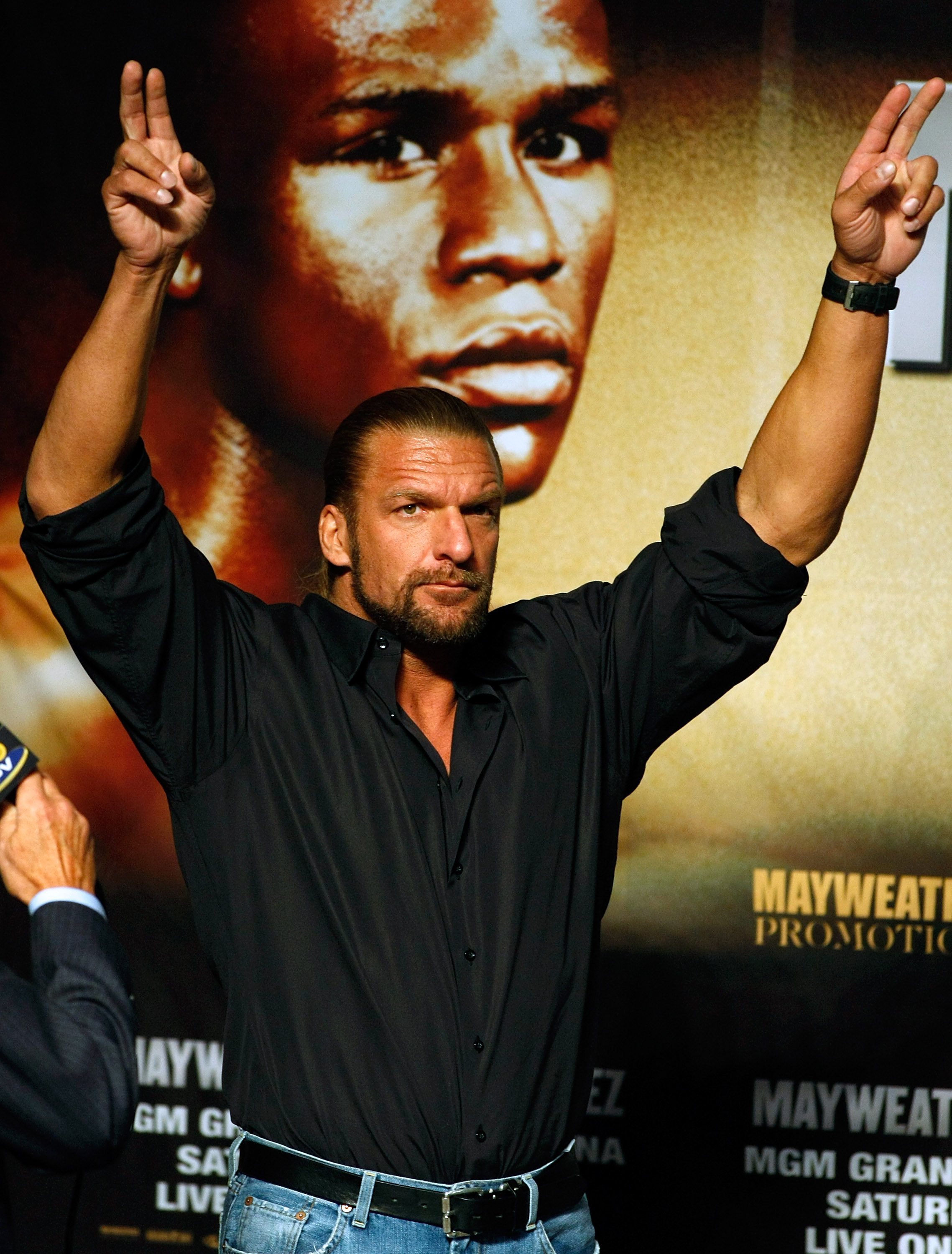 LAS VEGAS - SEPTEMBER 18:  WWE wrestler Triple H attends the official weigh-in for boxers Floyd Mayweather Jr. and Juan Manuel Marquez at the MGM Grand Garden Arena September 18, 2009 in Las Vegas, Nevada. The two will fight at the MGM on September 19.  (