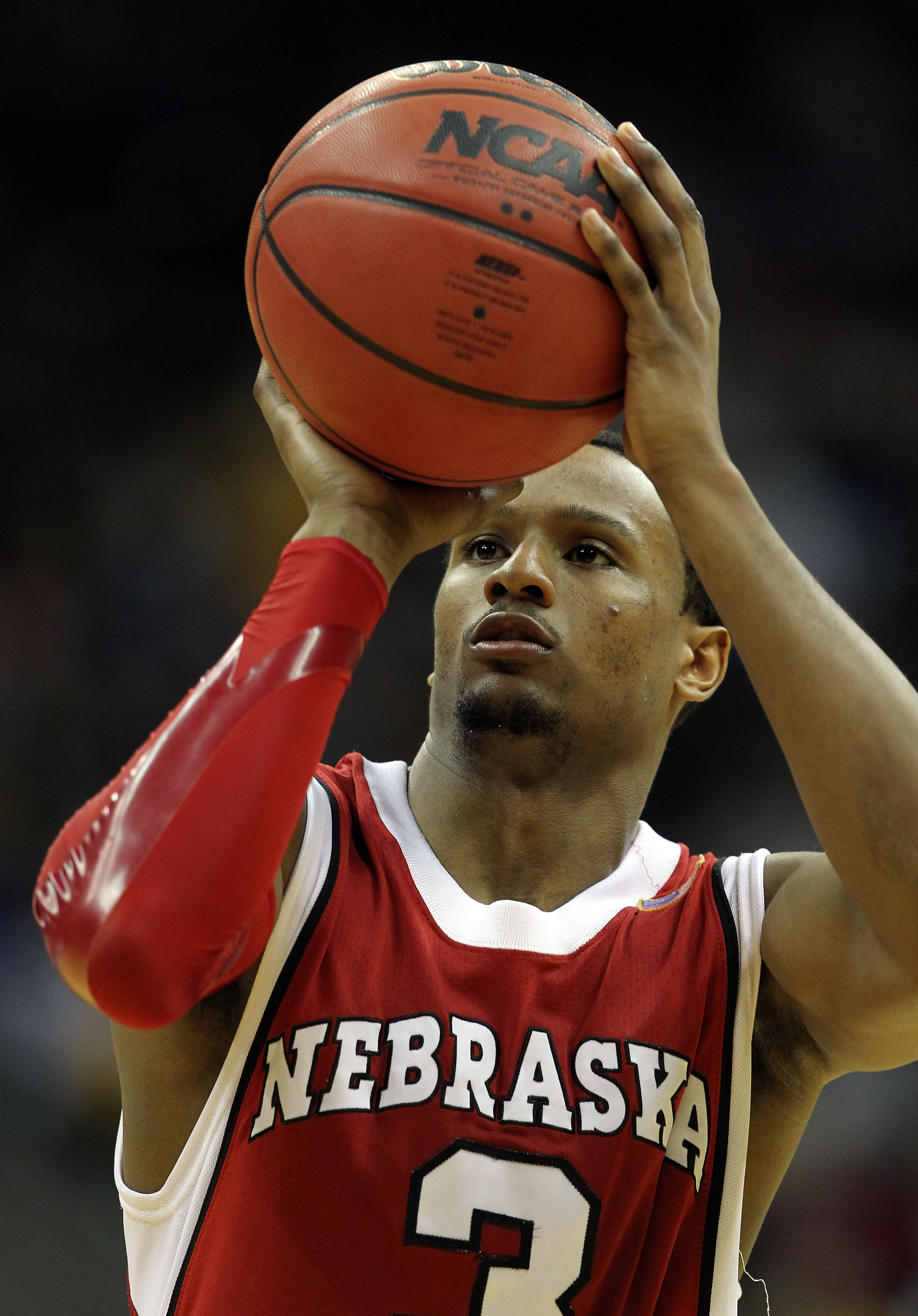 KANSAS CITY, MO - MARCH 10:  Brandon Richardson #3 of the Nebraska Cornhuskers shoots a free throw in the second half against the Missouri Tigers during the first round game of the 2010 Phillips 66 Big 12 Men's Basketball Tournament at the Sprint Center o