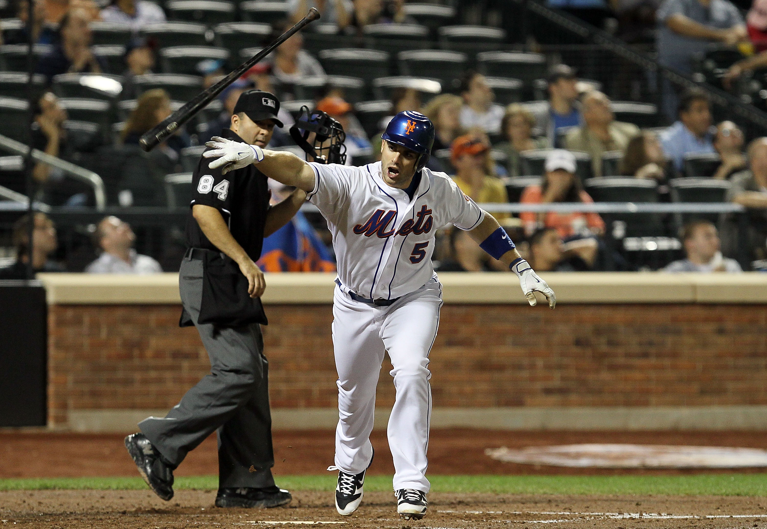 NEW YORK - AUGUST 27:  David Wright #5 of the New York Mets throws his bat after flying out in the fourth inning against the Houston Astros on August 27, 2010 at Citi Field in the Flushing neighborhood of the Queens borough of New York City.  (Photo by Ji