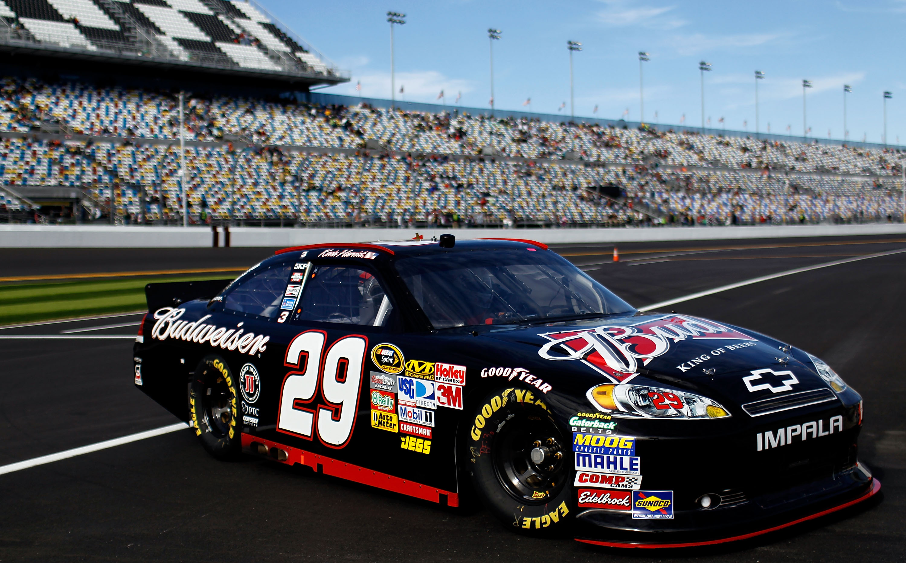 DAYTONA BEACH, FL - FEBRUARY 12:  Kevin Harvick, driver of the #29 Budweiser Chevrolet, drives off pit road during practice for the NASCAR Sprint Cup Series Daytona 500 at Daytona International Speedway on February 12, 2011 in Daytona Beach, Florida.  (Ph