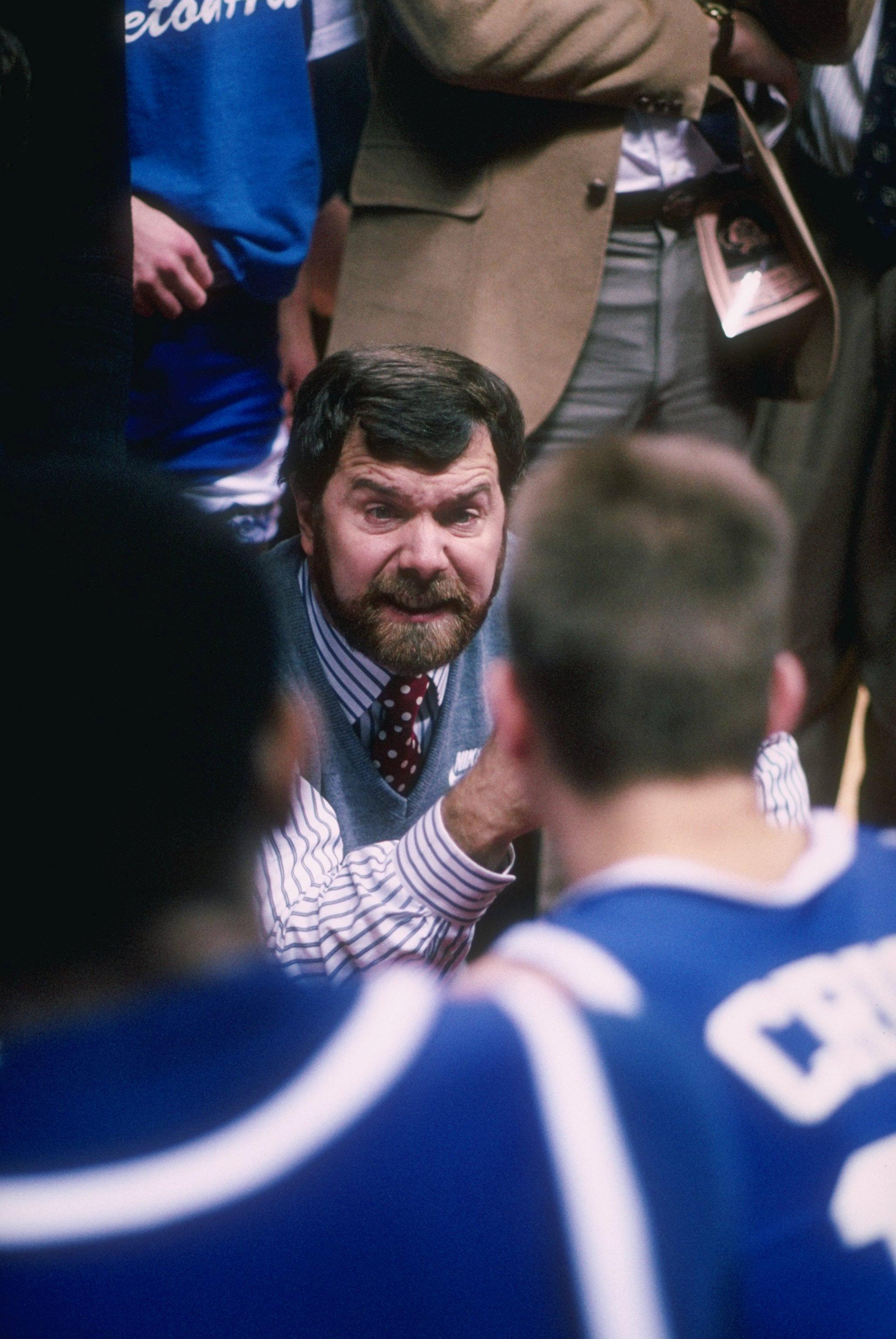 1989:  Head coach P.J. Carlesimo of Seton Hall University talks with his team during a Seton Hall Pirates game. Mandatory Credit: Stephen Dunn  /Allsport