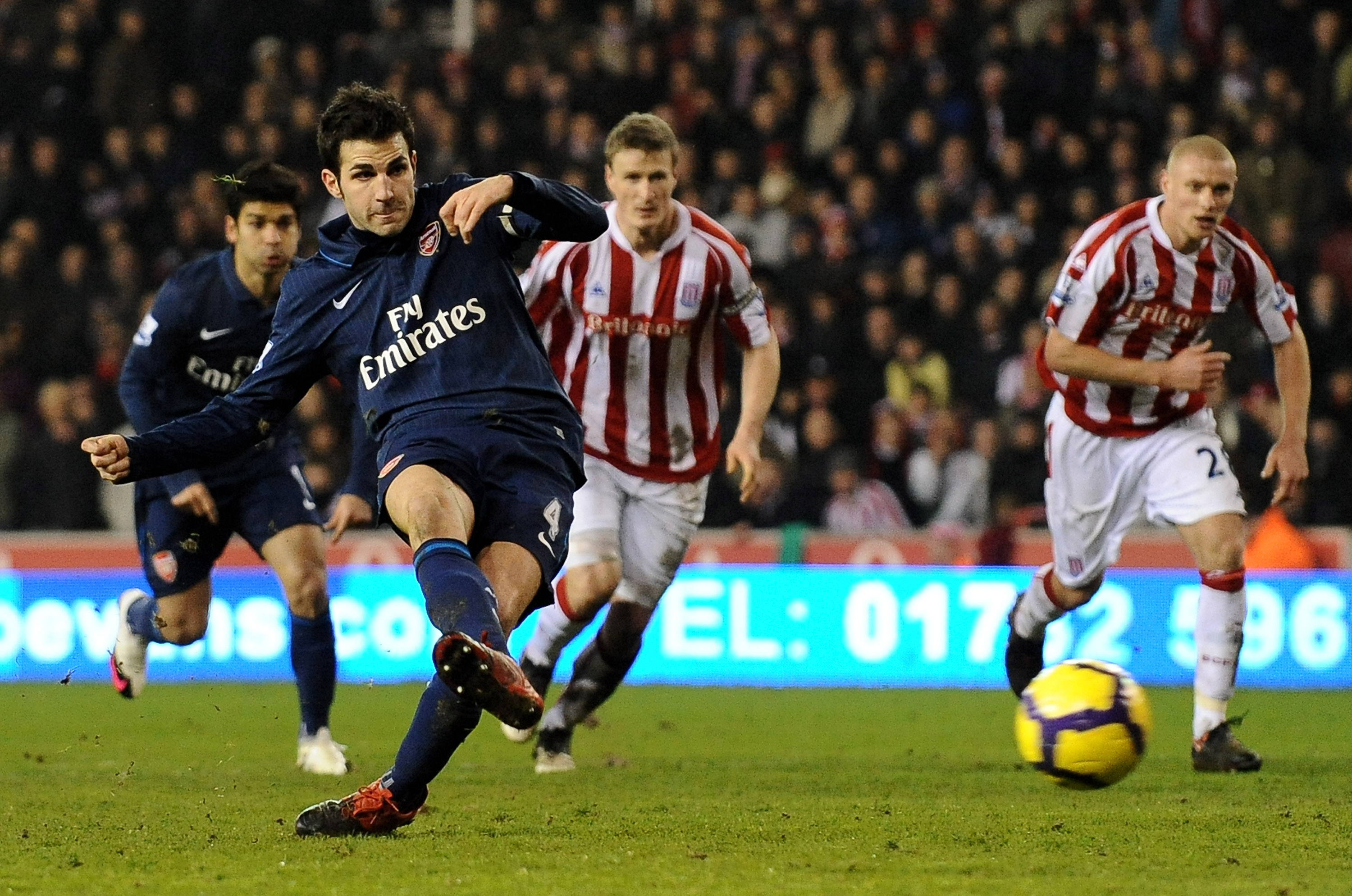STOKE ON TRENT, ENGLAND - FEBRUARY 27:   Cesc Fabregas of Arsenal scores his team's second goal from the penalty spot during the Barclays Premier League match between Stoke City and Arsenal at The Britannia Stadium on February 27, 2010 in Stoke on Trent,