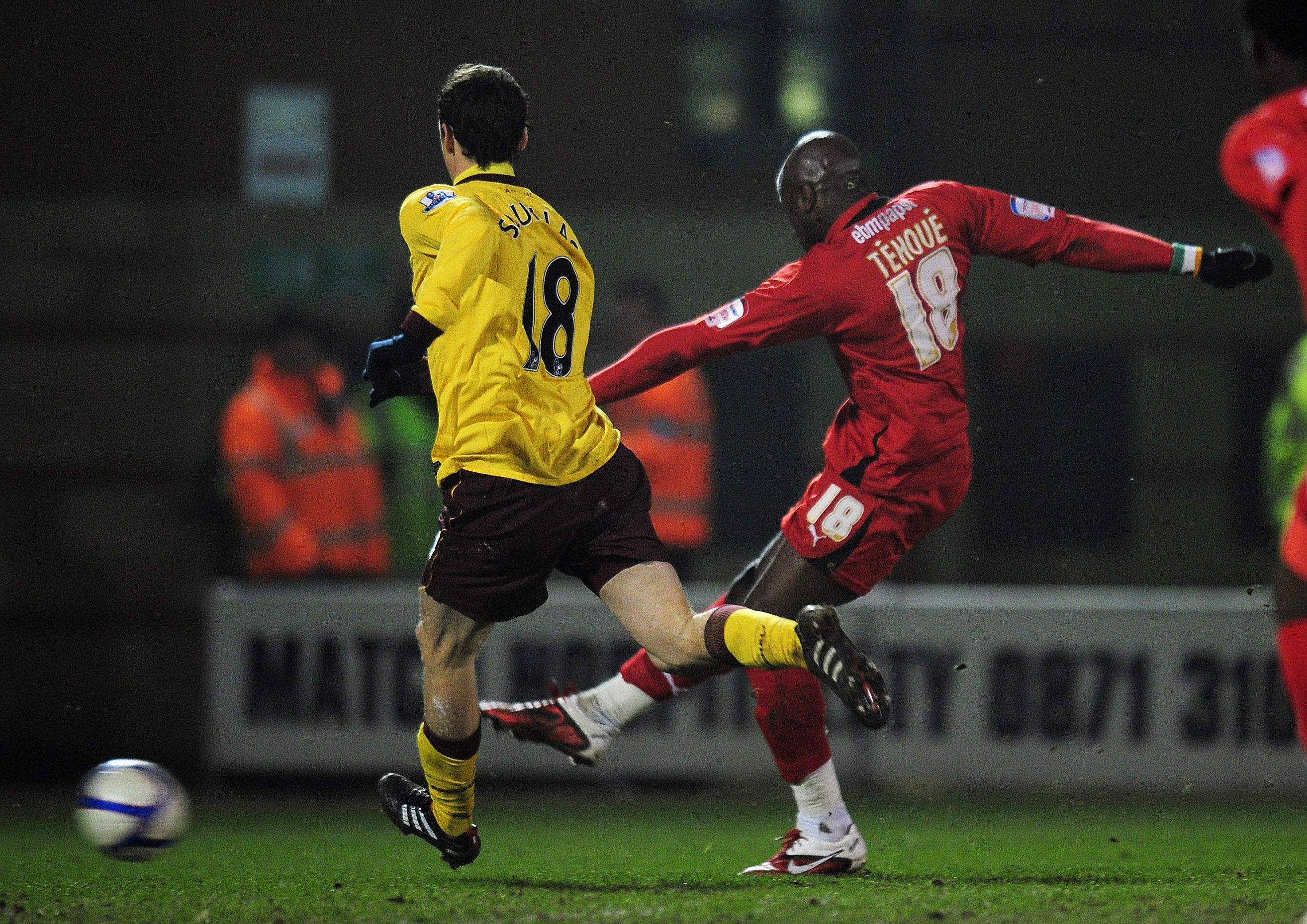 LONDON, ENGLAND - FEBRUARY 20:  Jonathan Tehoue of Leyton Orient shoots to score the equaliser during the FA Cup sponsored by E.ON 5th Round match between Leyton Orient and Arsenal at the Matchroom Stadium on February 20, 2011 in London, England.  (Photo