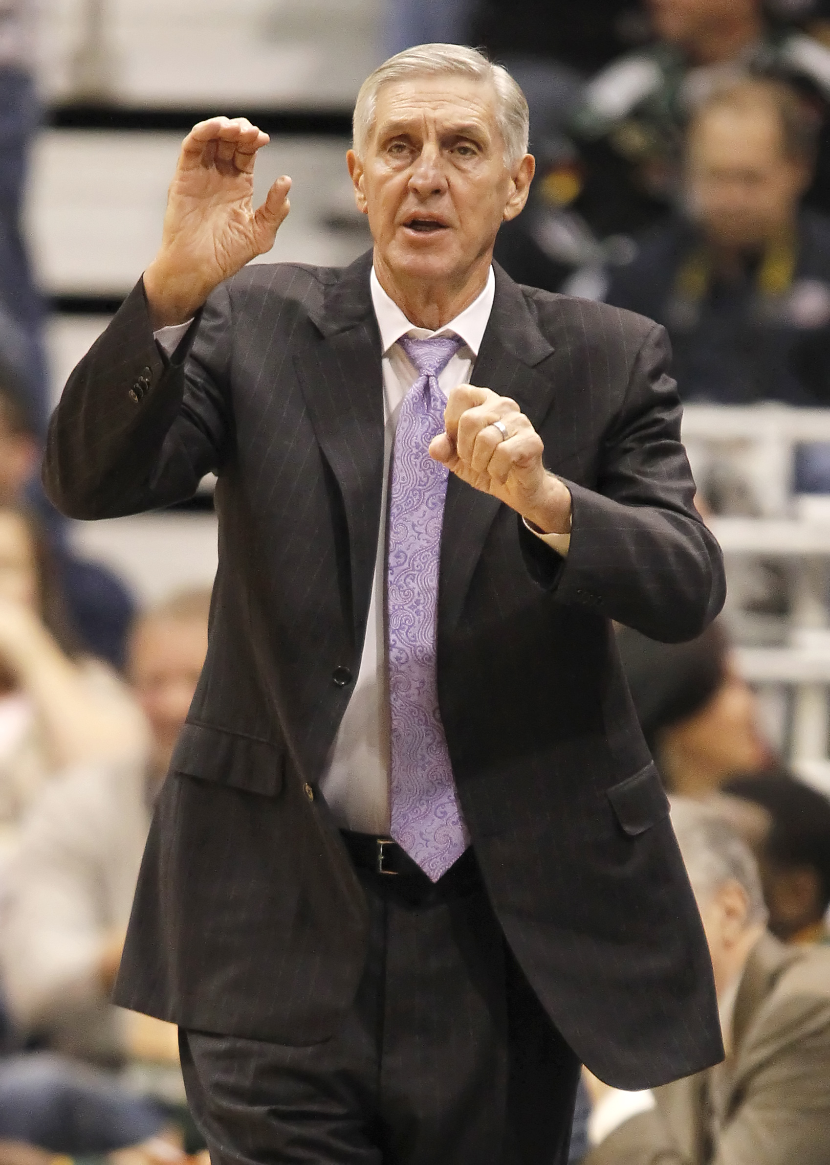 SALT LAKE CITY, UT - DECEMBER 8: Head coach of the Utah Jazz Jerry Sloan calls a play dueing a game against the Miami Heat during the first half of an NBA game December 8, 2010 at Energy Solutions Arena in Salt Lake City, Utah. The Heat beat the Jazz 111-
