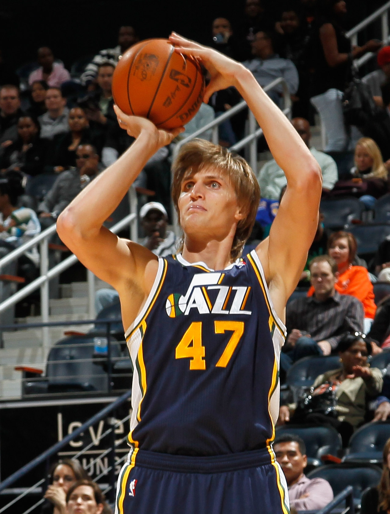 ATLANTA - NOVEMBER 12:  Andrei Kirilenko #47 of the Utah Jazz shoots against the Atlanta Hawks at Philips Arena on November 12, 2010 in Atlanta, Georgia.  NOTE TO USER: User expressly acknowledges and agrees that, by downloading and/or using this Photogra