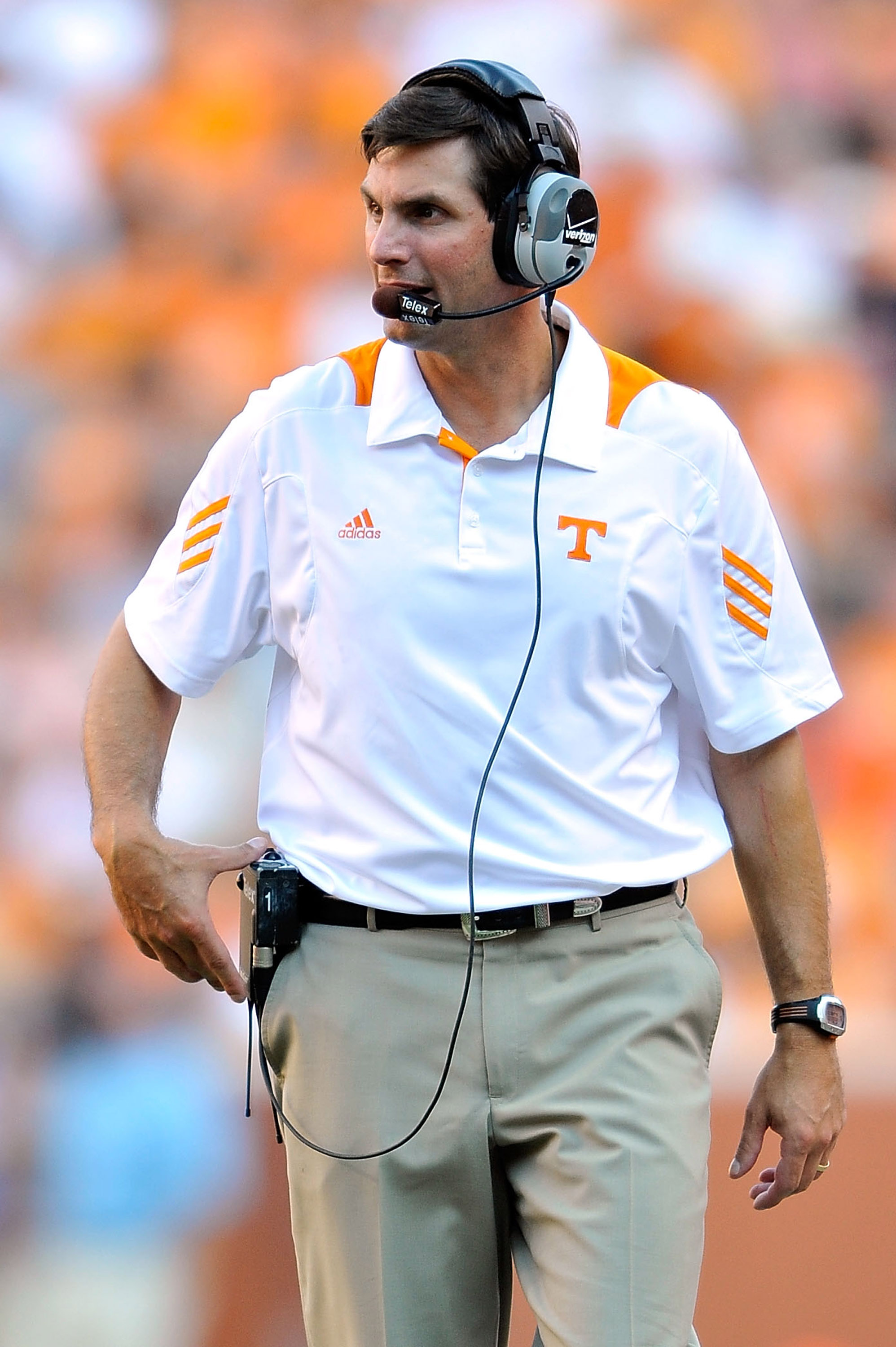KNOXVILLE, TN - SEPTEMBER 18:  Coach Derek Dooley of the Tennessee Volunteers watches his team in action against the Florida Gators  at Neyland Stadium on September 18, 2010 in Knoxville, Tennessee. Florida won 31-17.  (Photo by Grant Halverson/Getty Imag