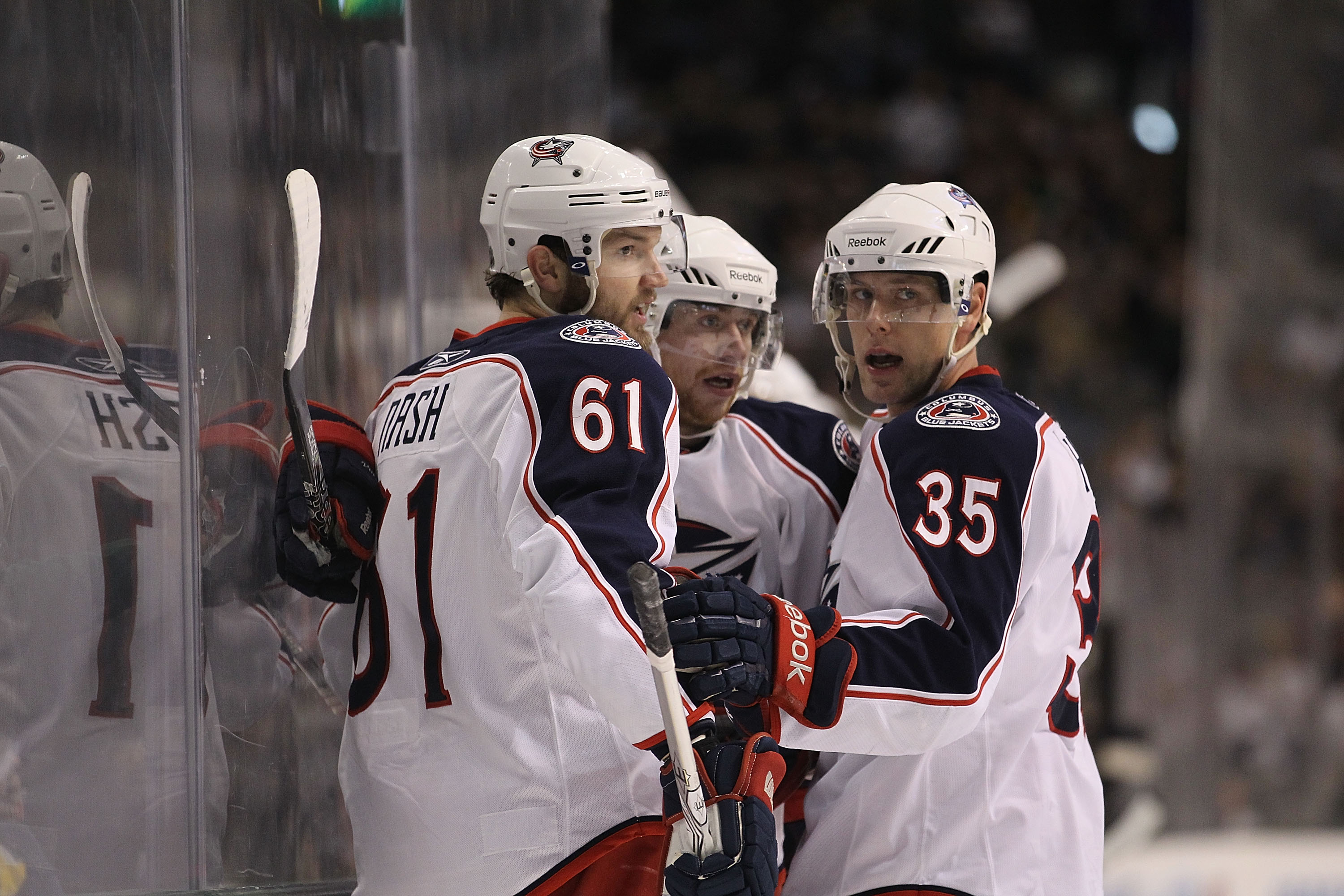 DALLAS, TX - FEBRUARY 13:  Right wing Rick Nash #61 of the Columbus Blue Jackets celebrates a goal with Jan Hejda #35 against the Dallas Stars on February 13, 2011 in Dallas, Texas.  (Photo by Ronald Martinez/Getty Images)