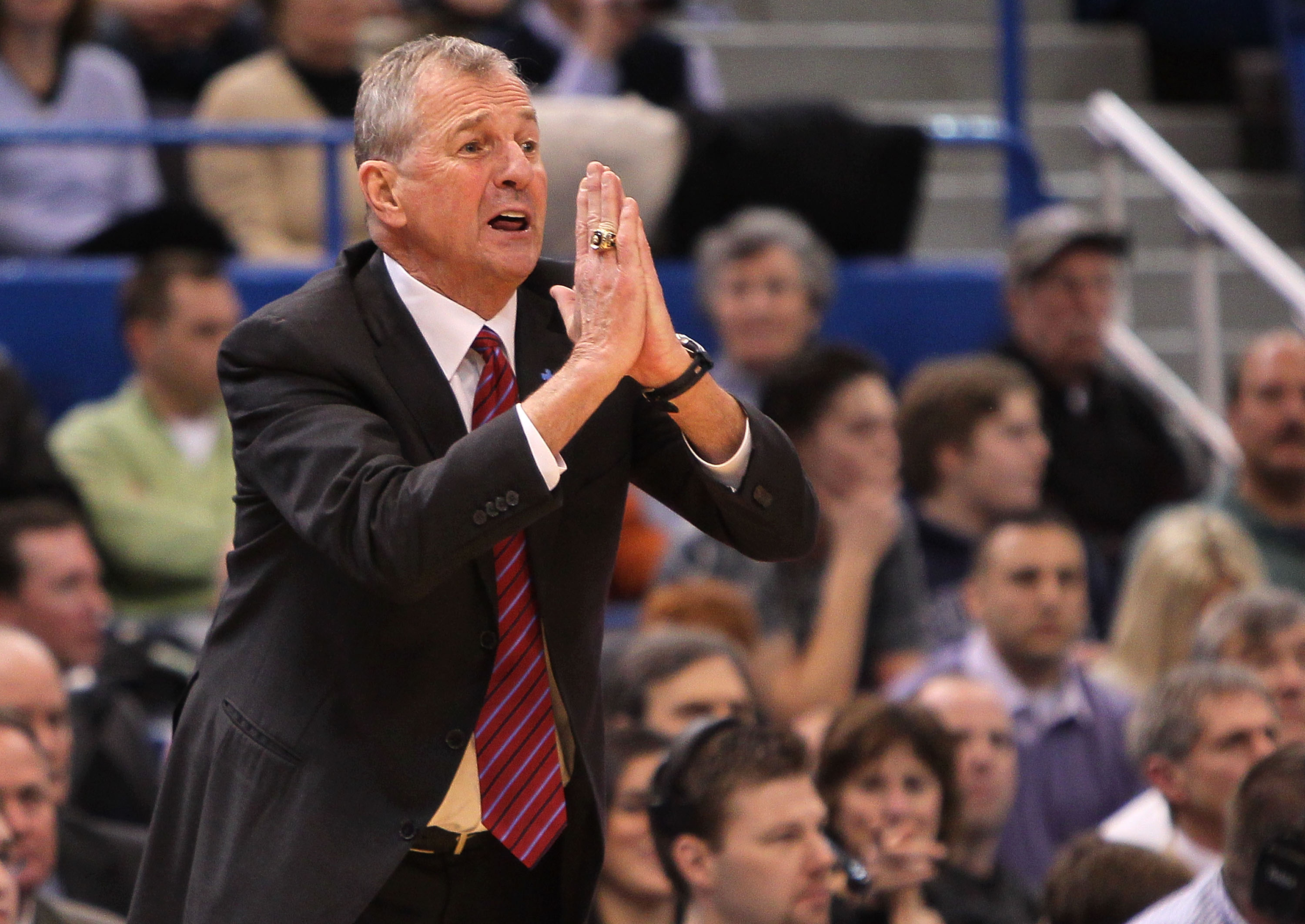 HARTFORD, CT - FEBRUARY 13: Coach Jim Calhoun of the Connecticut Huskies reacts during a game against the Cincinnati Bearcats at the XL Center on February 13, 2010 in Hartford, Connecticut. (Photo by Jim Rogash/Getty Images)