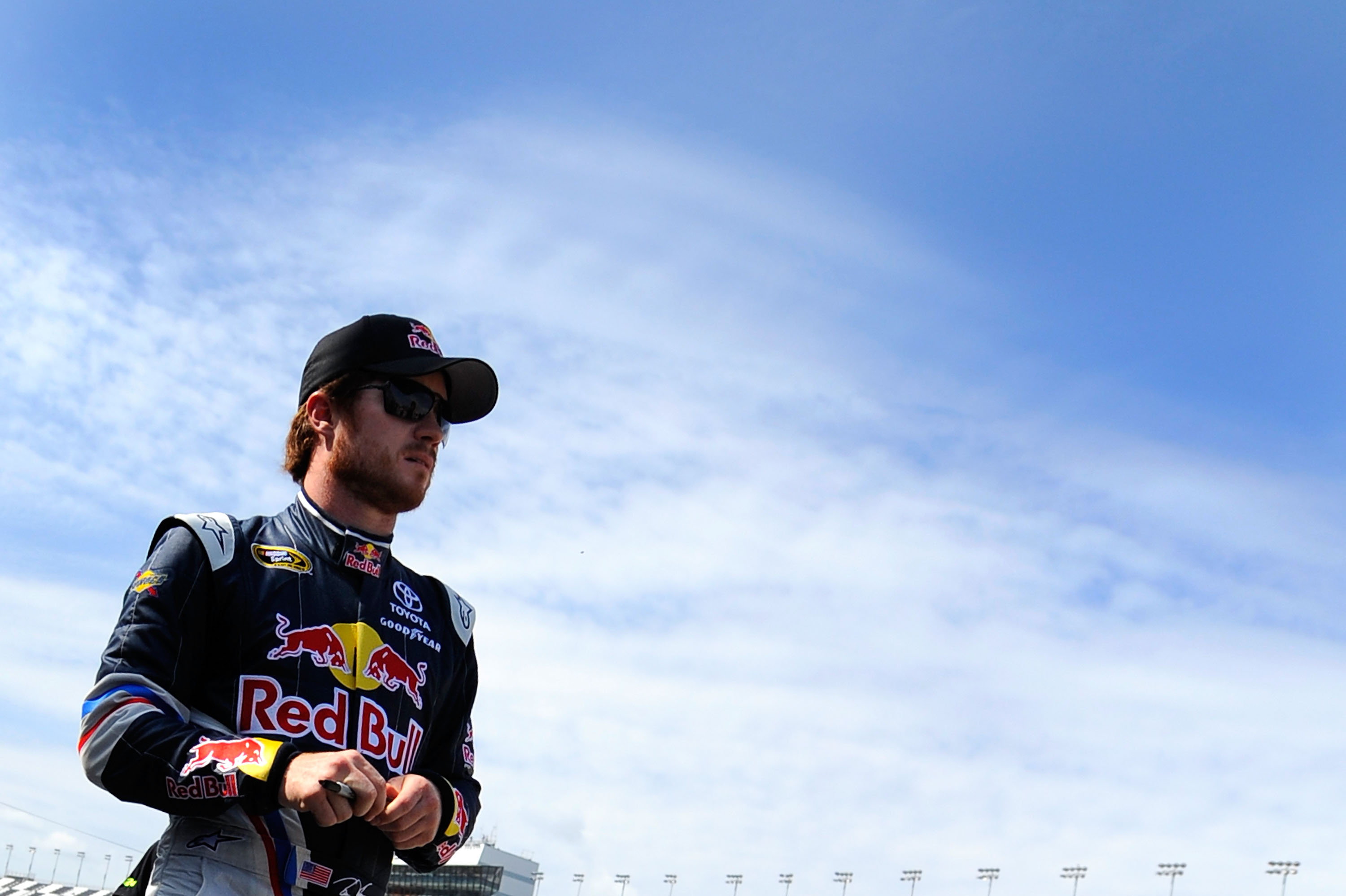 DAYTONA BEACH, FL - FEBRUARY 18:  Brian Vickers, driver of the #83 Red Bull Toyota, looks on in the garage during practice for the NASCAR Sprint Cup Series Daytona 500 at Daytona International Speedway on February 18, 2011 in Daytona Beach, Florida.  (Pho