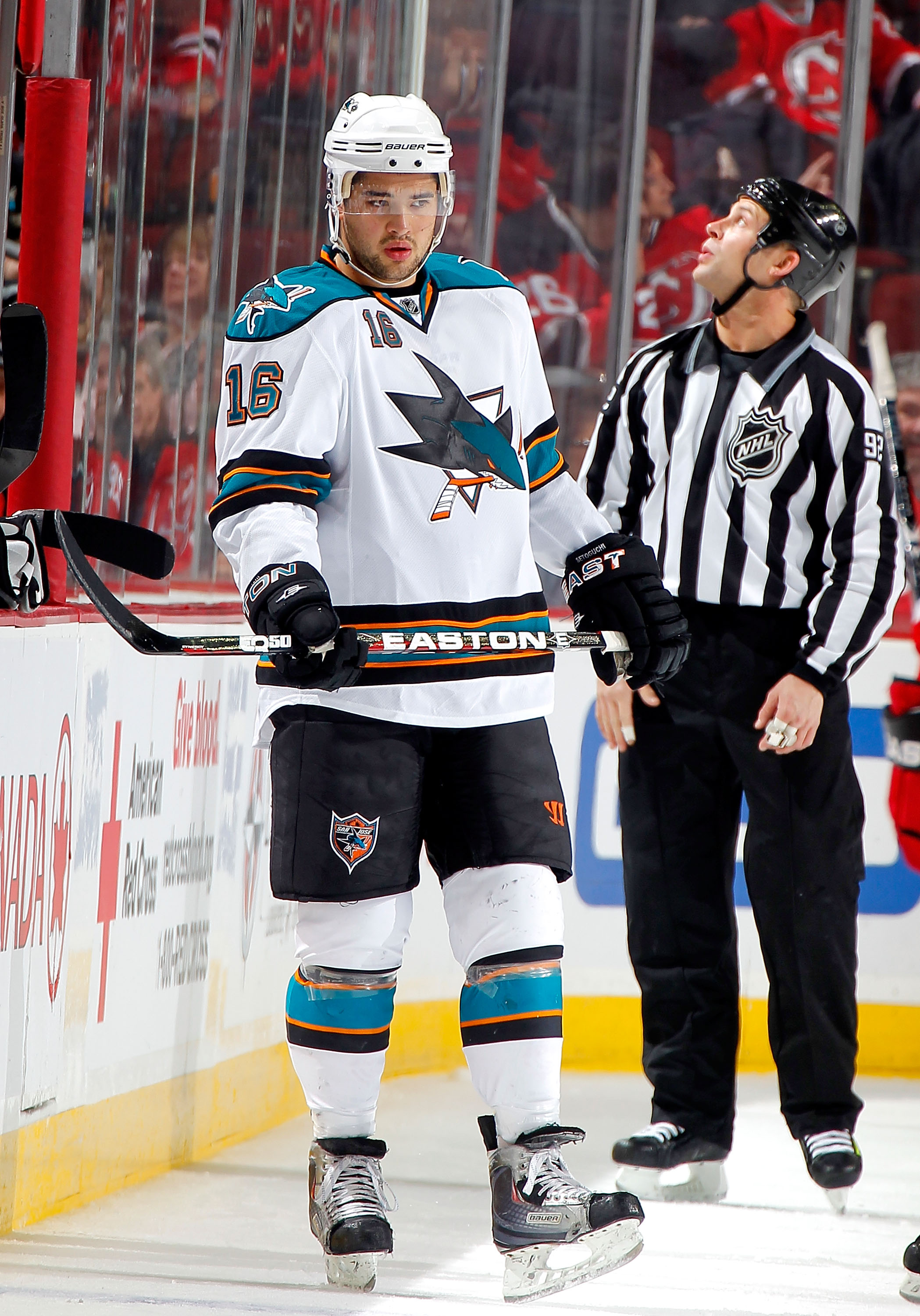 NEWARK, NJ - FEBRUARY 11: Devin Setoguchi #16 of the San Jose Sharks waits for a faceoff in an NHL hockey game against the New Jersey Devils on February 11, 2011 at the Prudential Center in Newark, New Jersey. (Photo by Paul Bereswill/Getty Images)