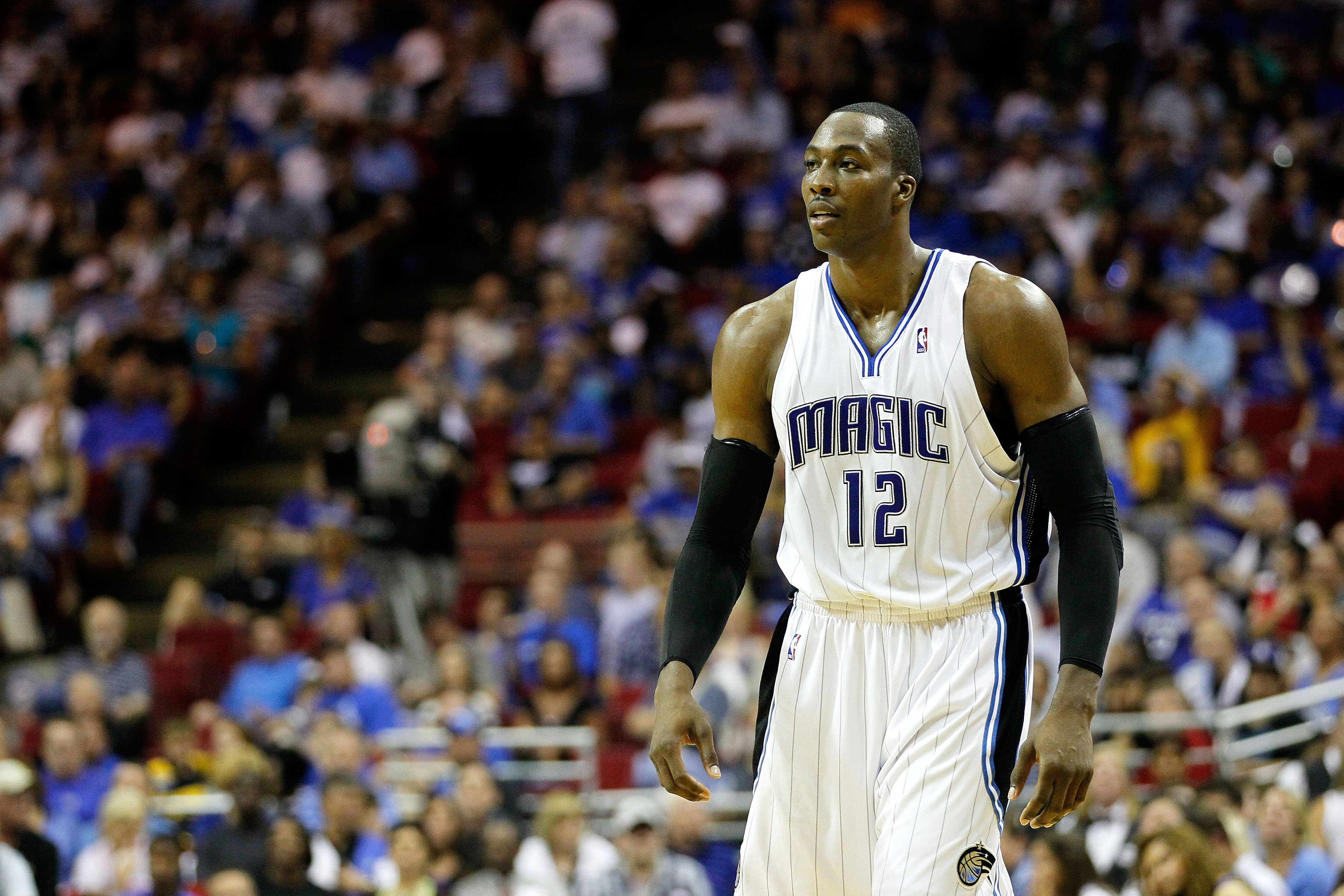 ORLANDO, FL - MAY 26:  Dwight Howard #12 of the Orlando Magic looks on against the Boston Celtics in Game Five of the Eastern Conference Finals during the 2010 NBA Playoffs at Amway Arena on May 26, 2010 in Orlando, Florida.  NOTE TO USER: User expressly