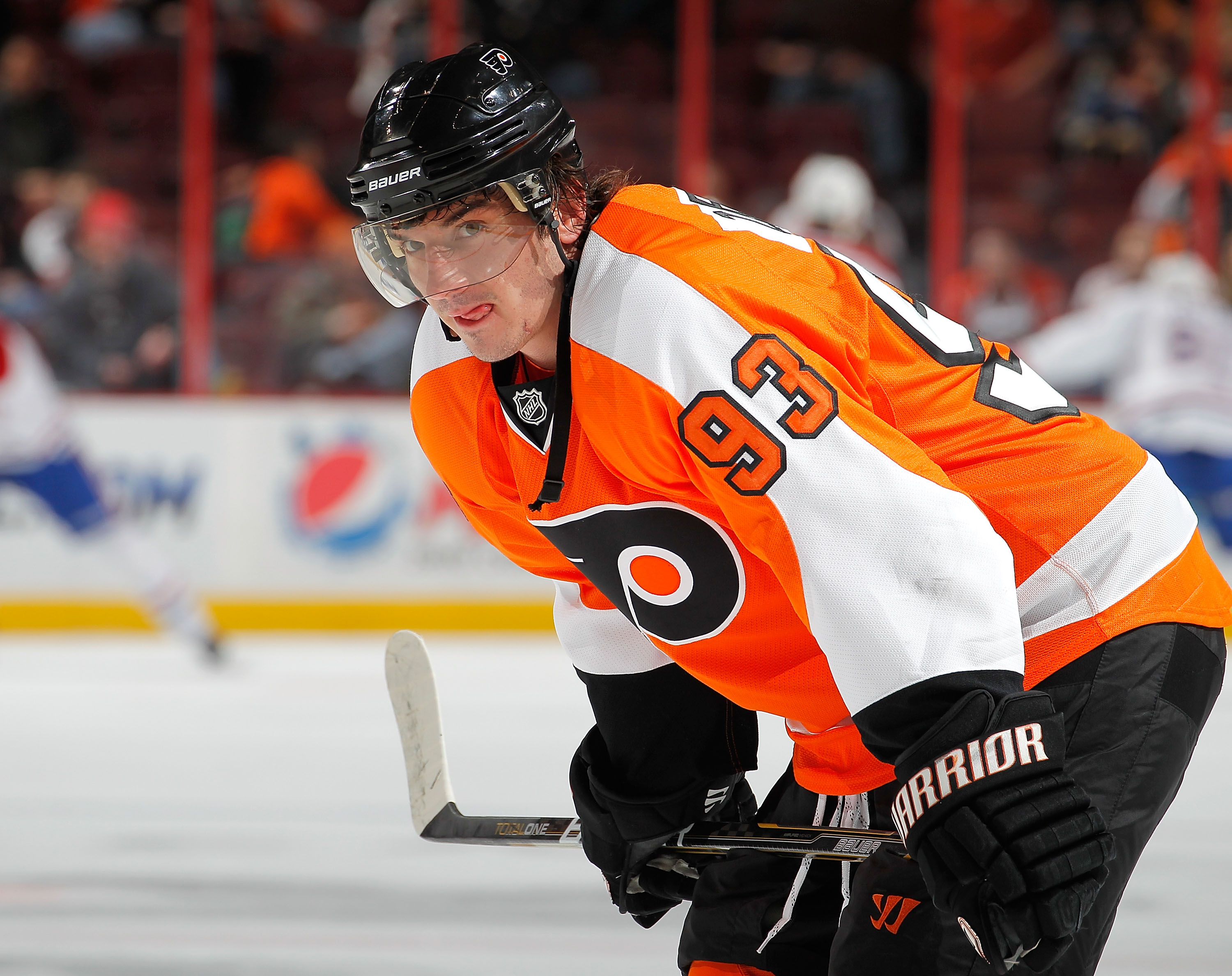 PHILADELPHIA, PA - JANUARY 25:  Nikolay Zherdev #93 of the Philadelphia Flyers waits during warmups before an NHL hockey game against the Montreal Canadiens at the Wells Fargo Center on January 25, 2011 in Philadelphia, Pennsylvania.  (Photo by Paul Beres