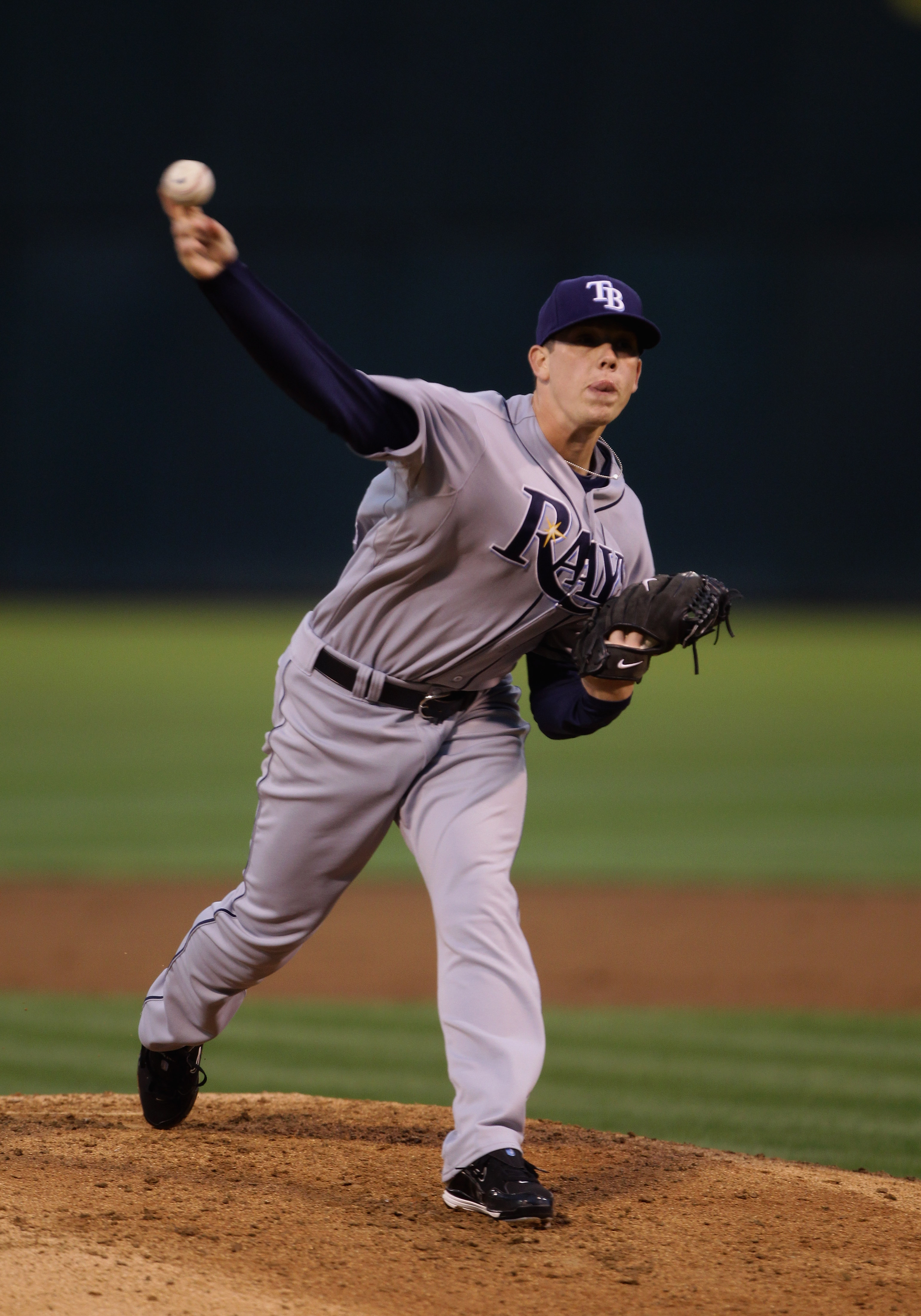 OAKLAND, CA - AUGUST 20:  Jeremy Hellickson #58 of the Tampa Bay Rays pitches against the Oakland Athletics at the Oakland-Alameda County Coliseum  on August 20, 2010 in Oakland, California.  (Photo by Ezra Shaw/Getty Images)