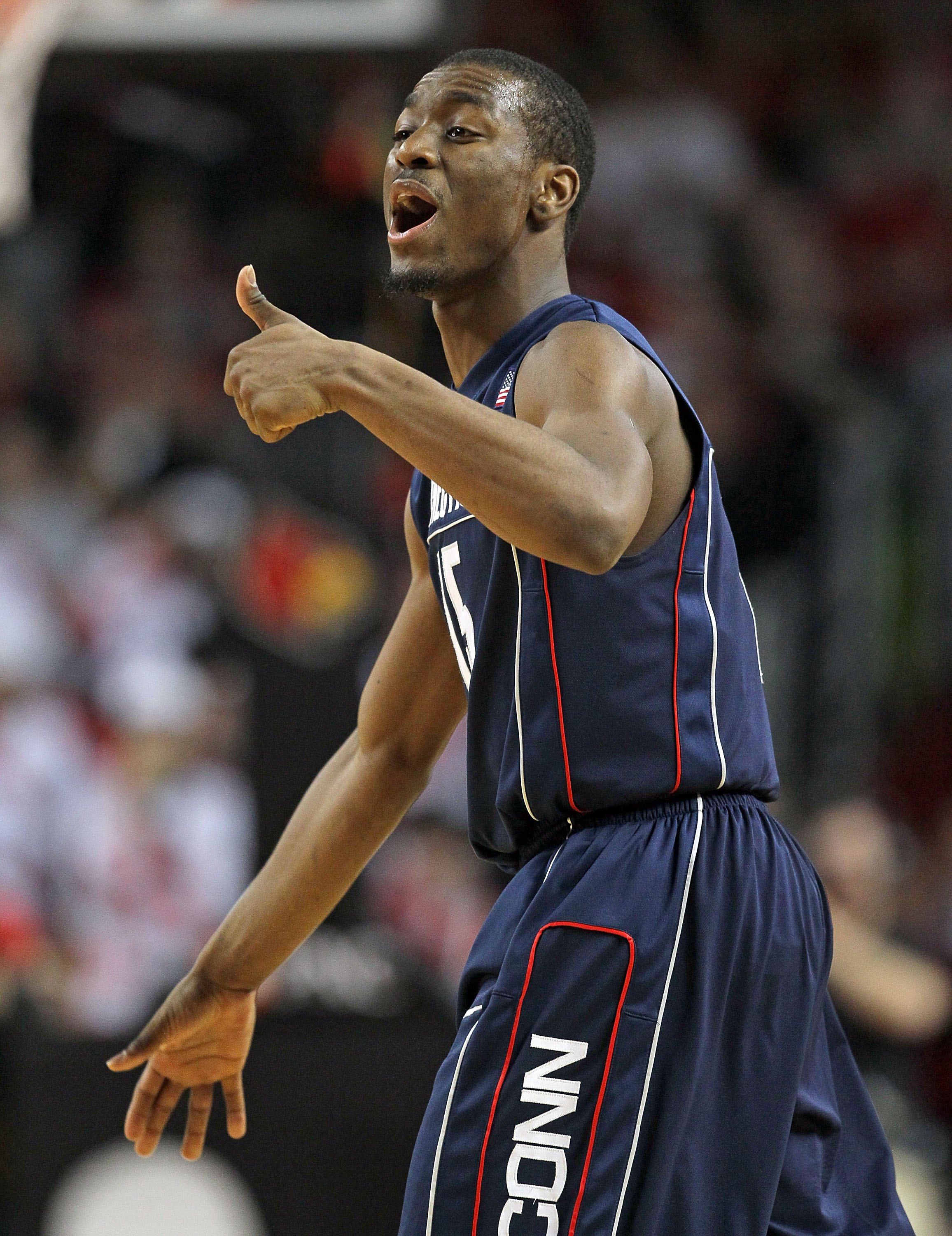 LOUISVILLE, KY - FEBRUARY 01:  Kemba Walker #15 of the Connecticut Huskies reacts during the Big East Conference game against the Louisville Cardinals on February 1, 2010 at Freedom Hall in Louisville, Kentucky.  (Photo by Andy Lyons/Getty Images)