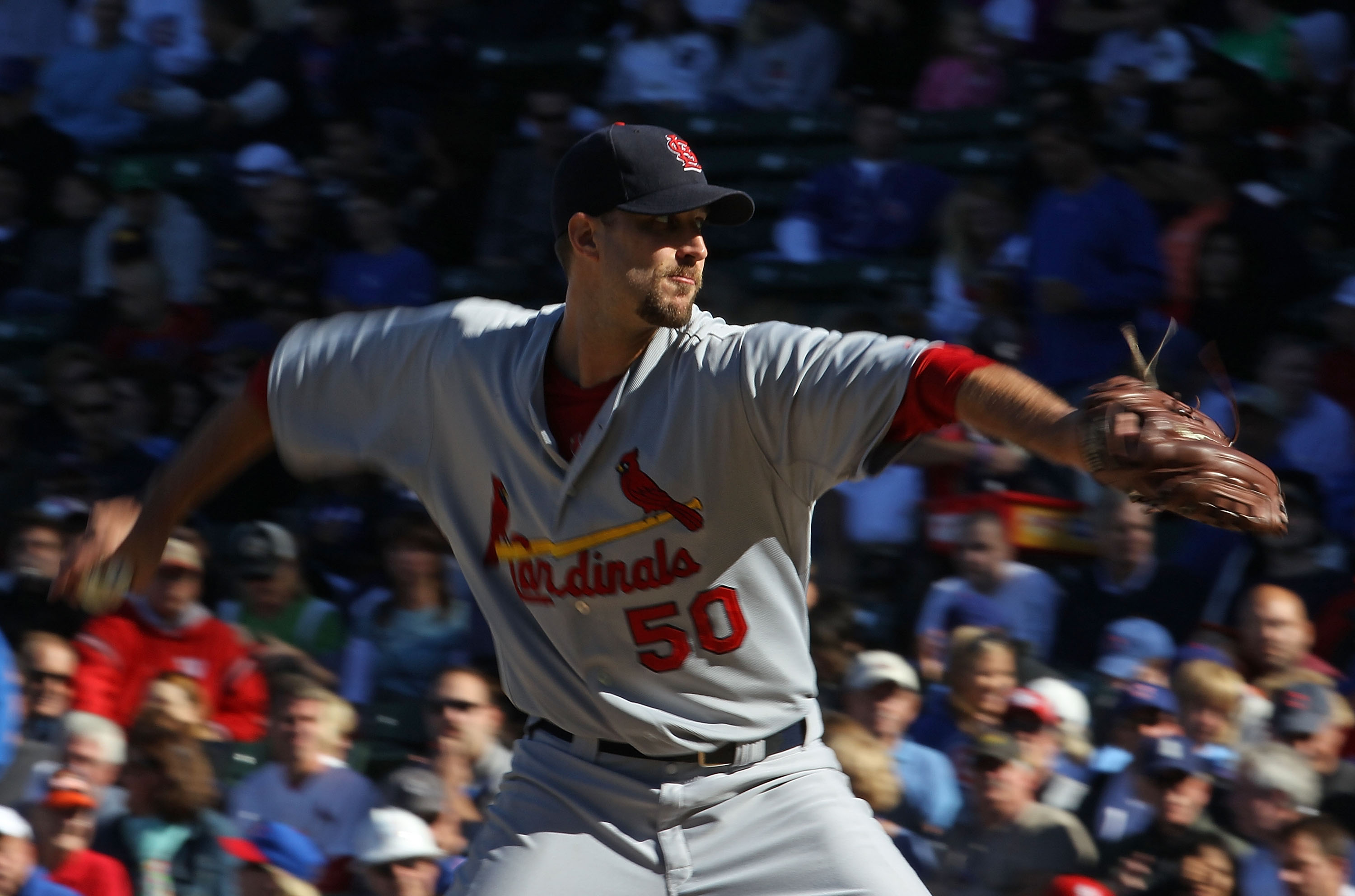 CHICAGO - SEPTEMBER 24: Starting pitcher Adam Wainwright #50 of the St. Louis Cardinals pitches his way to his 20th win of the season against the Chicago Cubs at Wrigley Field on September 24, 2010 in Chicago, Illinois. The Cardinals defeated the Cubs 7-1