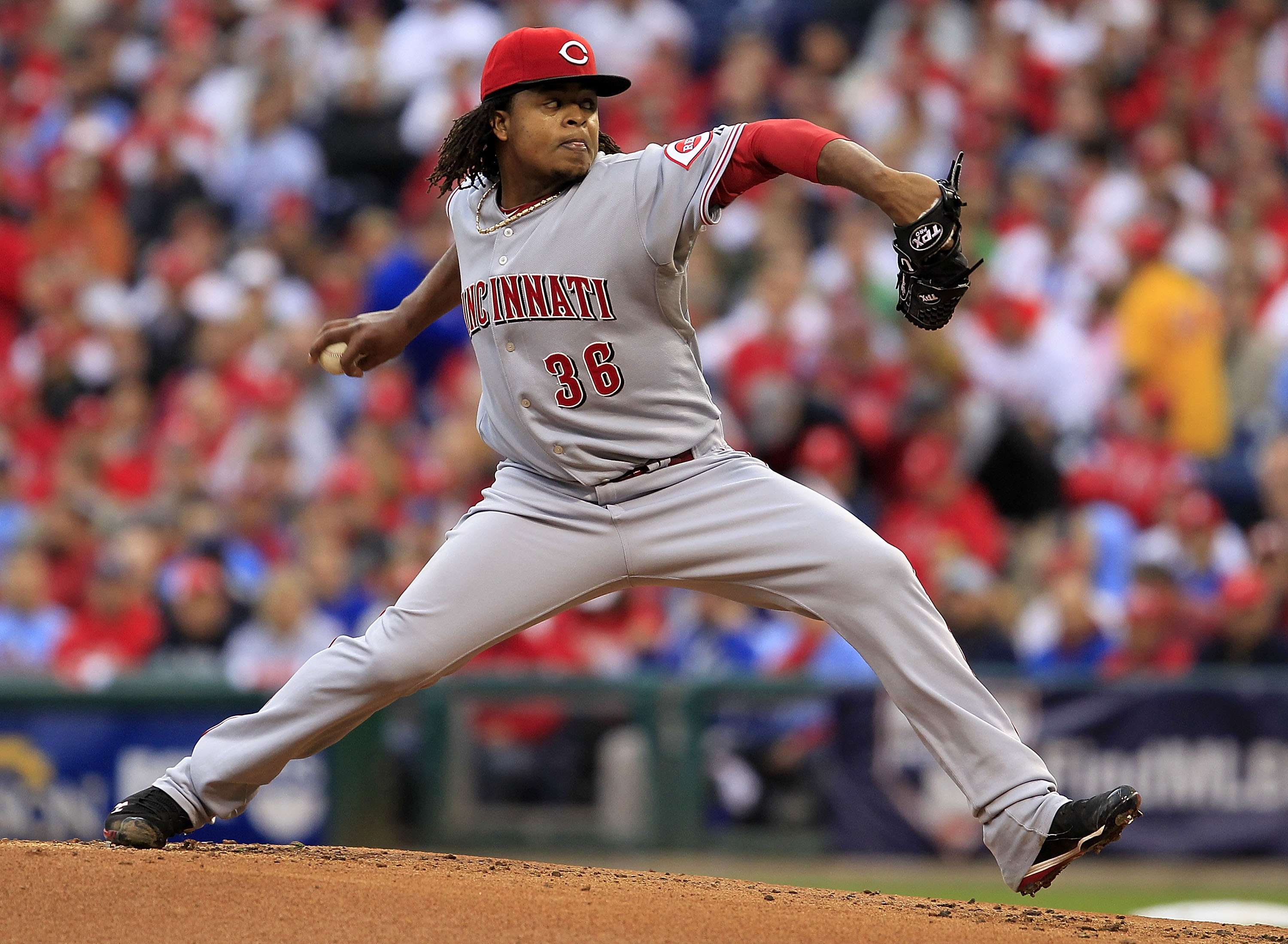 PHILADELPHIA - OCTOBER 06:  Edinson Volquez #36 of the Cincinnati Reds delivers in Game 1 of the NLDS against the Philadelphia Phillies at Citizens Bank Park on October 6, 2010 in Philadelphia, Pennsylvania.  (Photo by Chris Trotman/Getty Images)