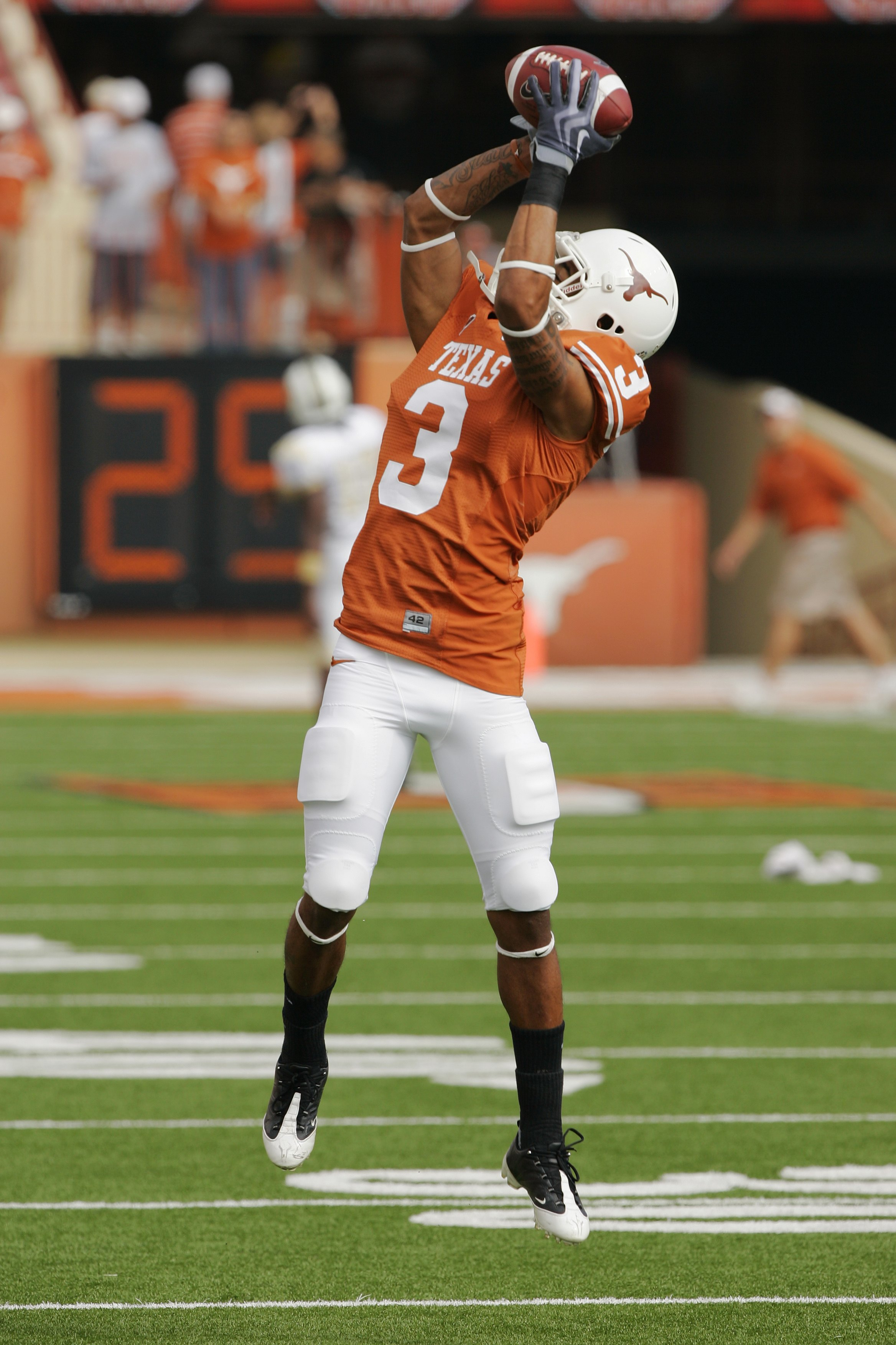 AUSTIN, TX - NOVEMBER 07:  Cornerback Curtis Brown #3 of the Texas Longhorns practices before a game against the UCF Knights on November 7, 2009 at Darrell K Royal - Texas Memorial Stadium in Austin, Texas.  Texas won 35-3.  (Photo by Brian Bahr/Getty Ima