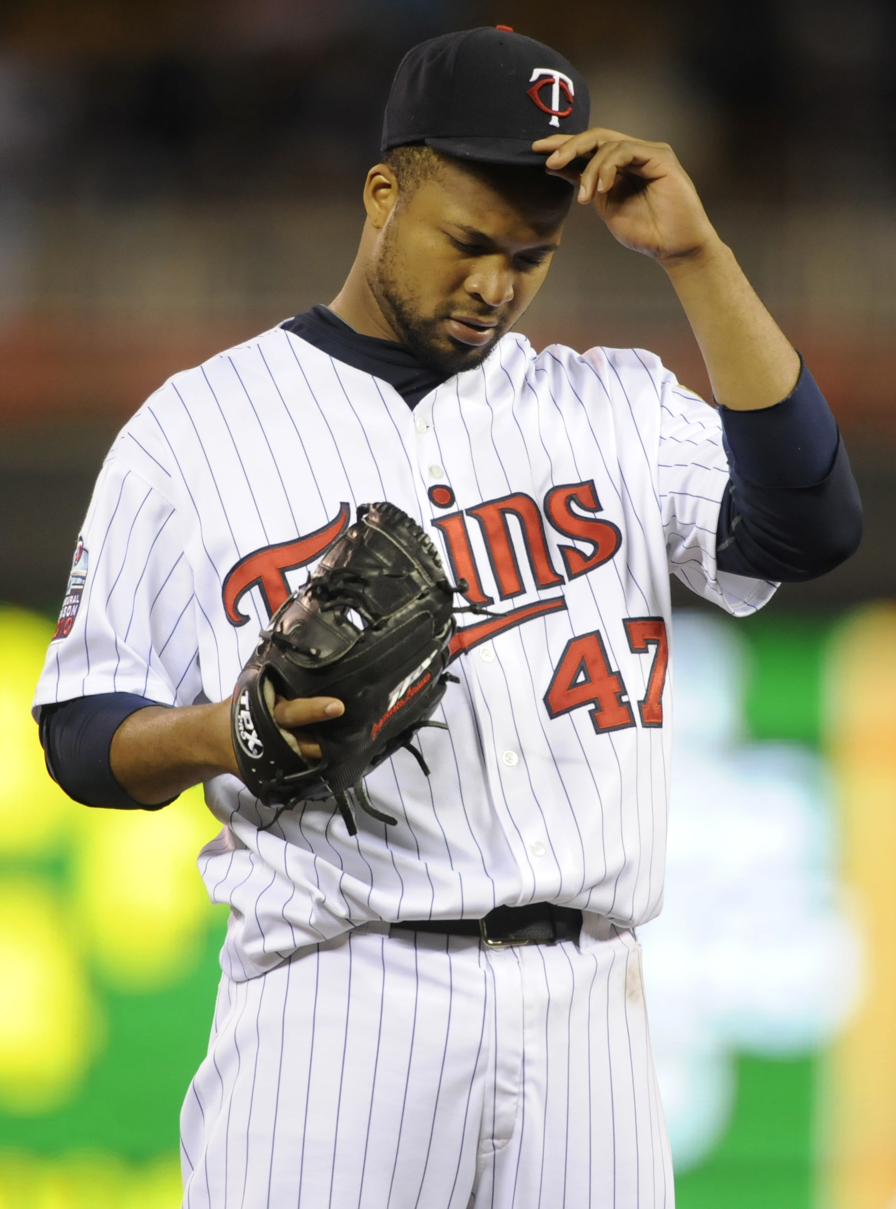 MINNEAPOLIS, MN - OCTOBER 6: Francisco Liriano #47 of the Minnesota Twins reacts during game one of the ALDS against the New York Yankees on October 6, 2010 at Target Field in Minneapolis, Minnesota. (Photo by Hannah Foslien /Getty Images)