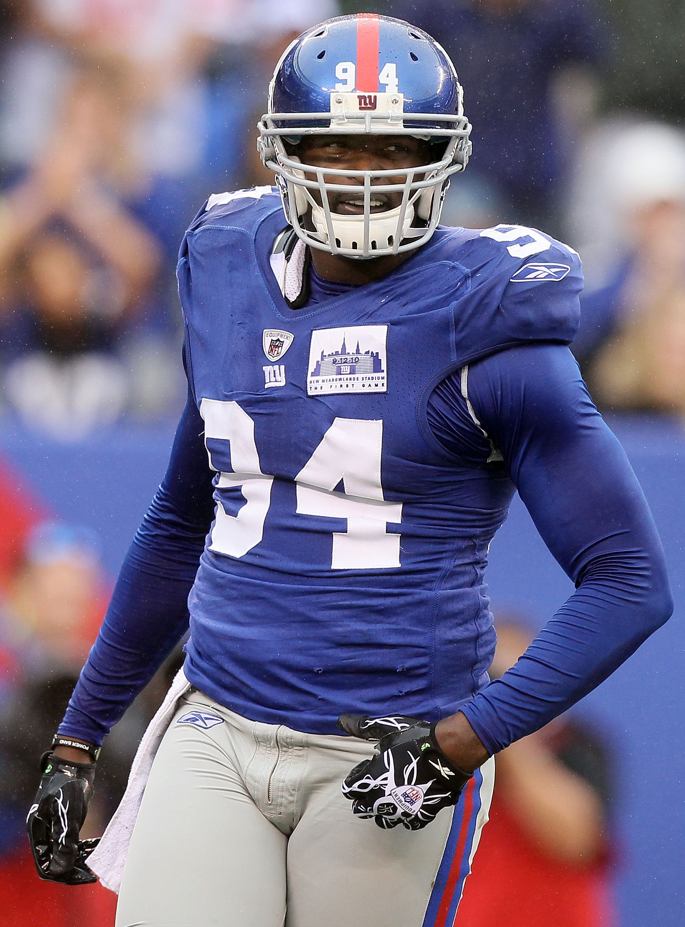 EAST RUTHERFORD, NJ - SEPTEMBER 12:  Mathias Kiwanuka #94 of the New York Giants looks on against the Carolina Panthers on September 12, 2010 at the New Meadowlands Stadium in East Rutherford, New Jersey. The Giants defeated the Panthers 31-18.  (Photo by