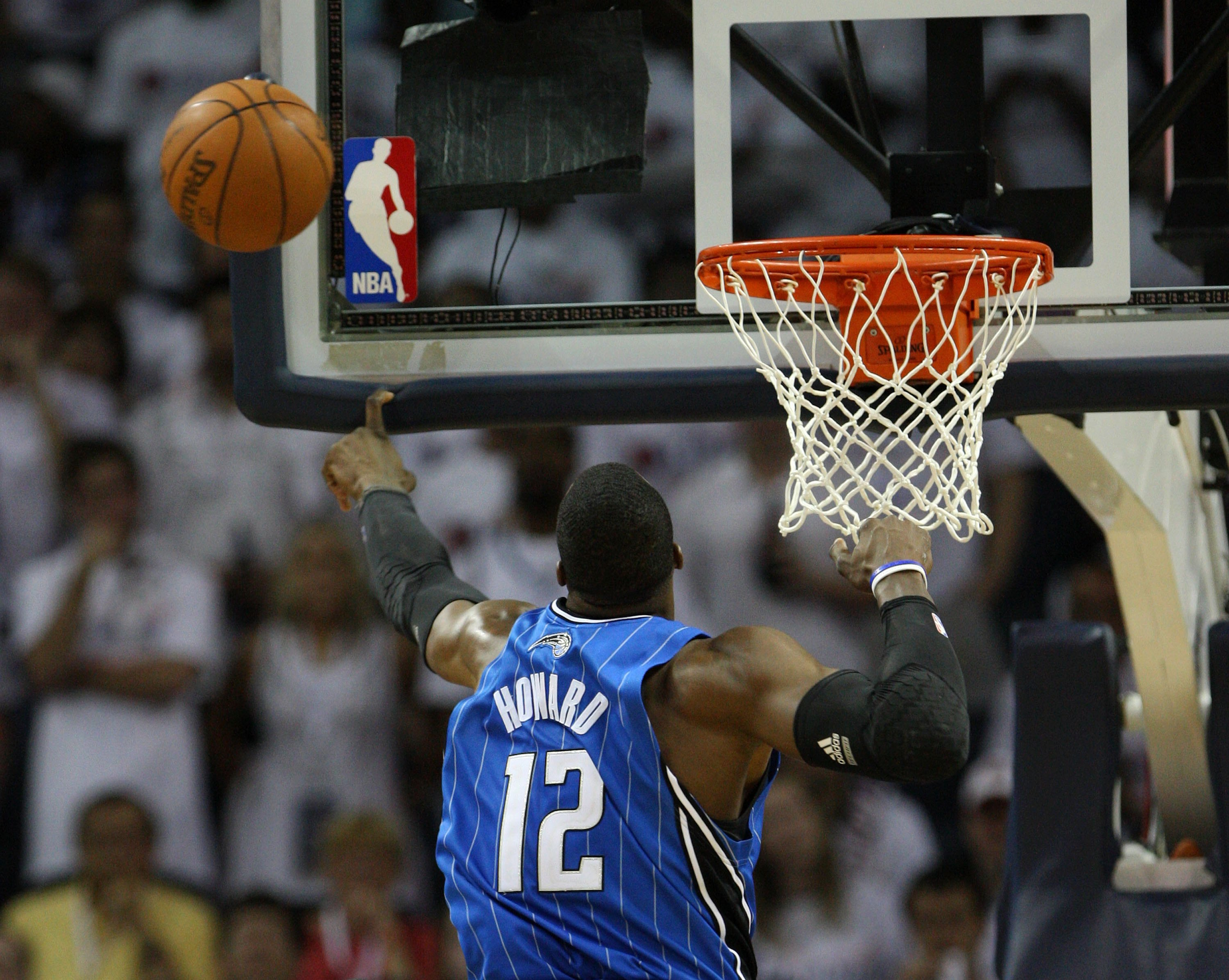 CHARLOTTE - APRIL 24:  Center Dwight Howard #12 of the Orlando Magic blocks a shot during Game Three of the Eastern Conference Quarterfinals against the Charlotte Bobcats during the 2010 NBA Playoffs at Time Warner Cable Arena on April 24, 2010 in Charlot