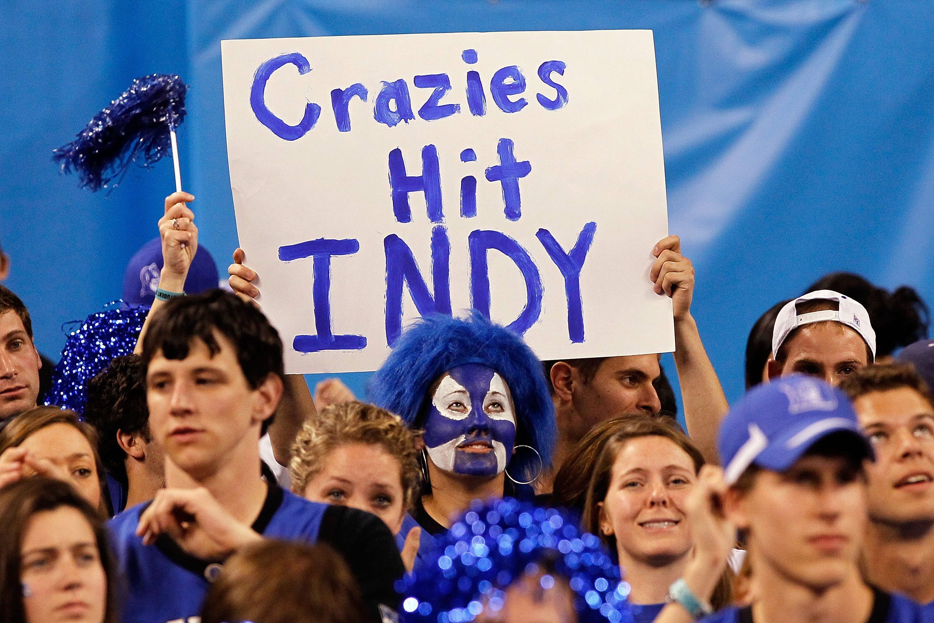 INDIANAPOLIS - APRIL 03:  Fans of the Duke Blue Devils hold up signs from the student section while taking on the West Virginia Mountaineers during the National Semifinal game of the 2010 NCAA Division I Men's Basketball Championship at Lucas Oil Stadium