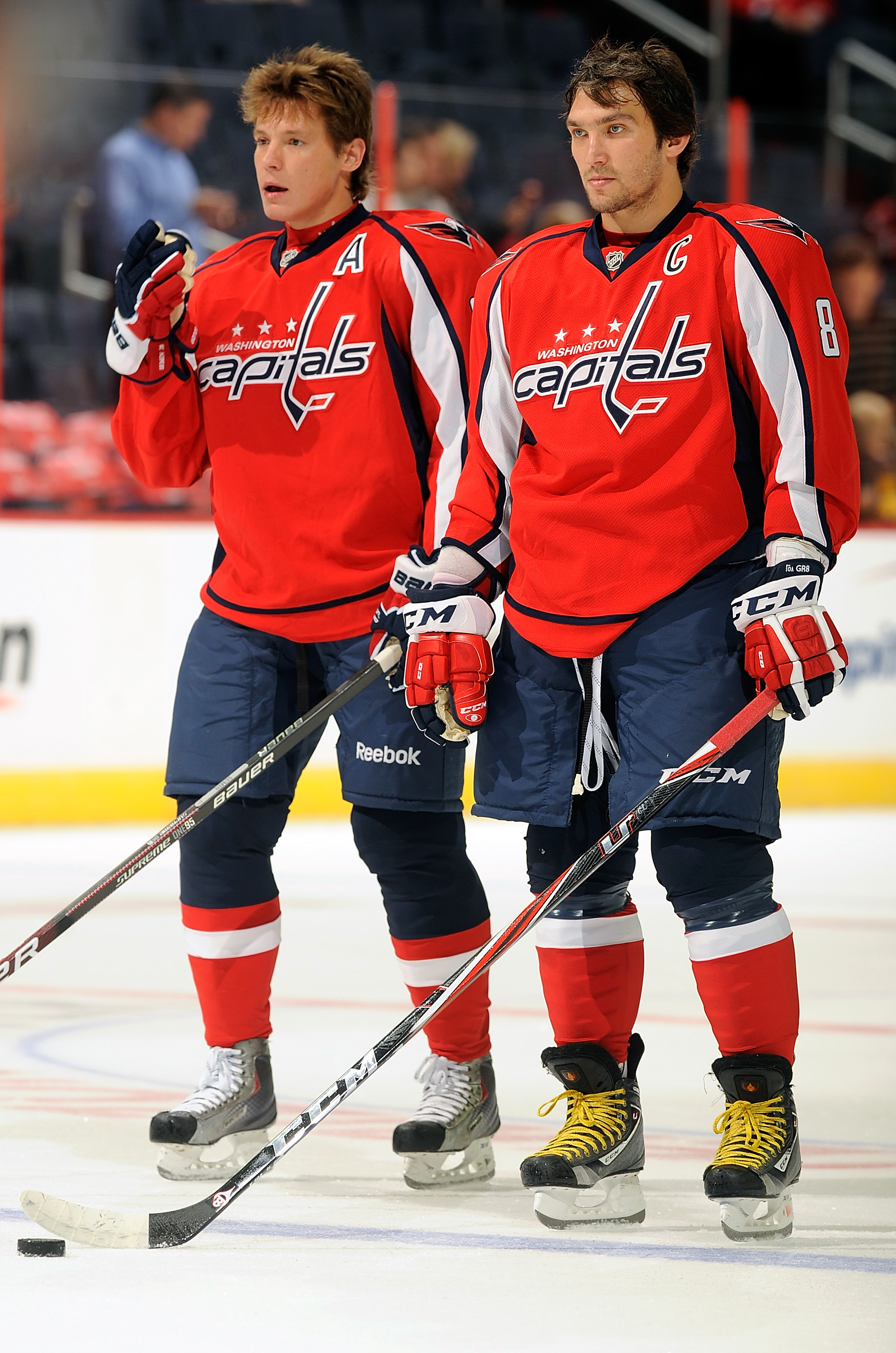 WASHINGTON - SEPTEMBER 28:  Alex Ovechkin #8 and Alexander Semin #28 of the Washington Capitals warm up before the game against the Boston Bruins at Verizon Center on September 28, 2010 in Washington, DC.  (Photo by Greg Fiume/Getty Images)