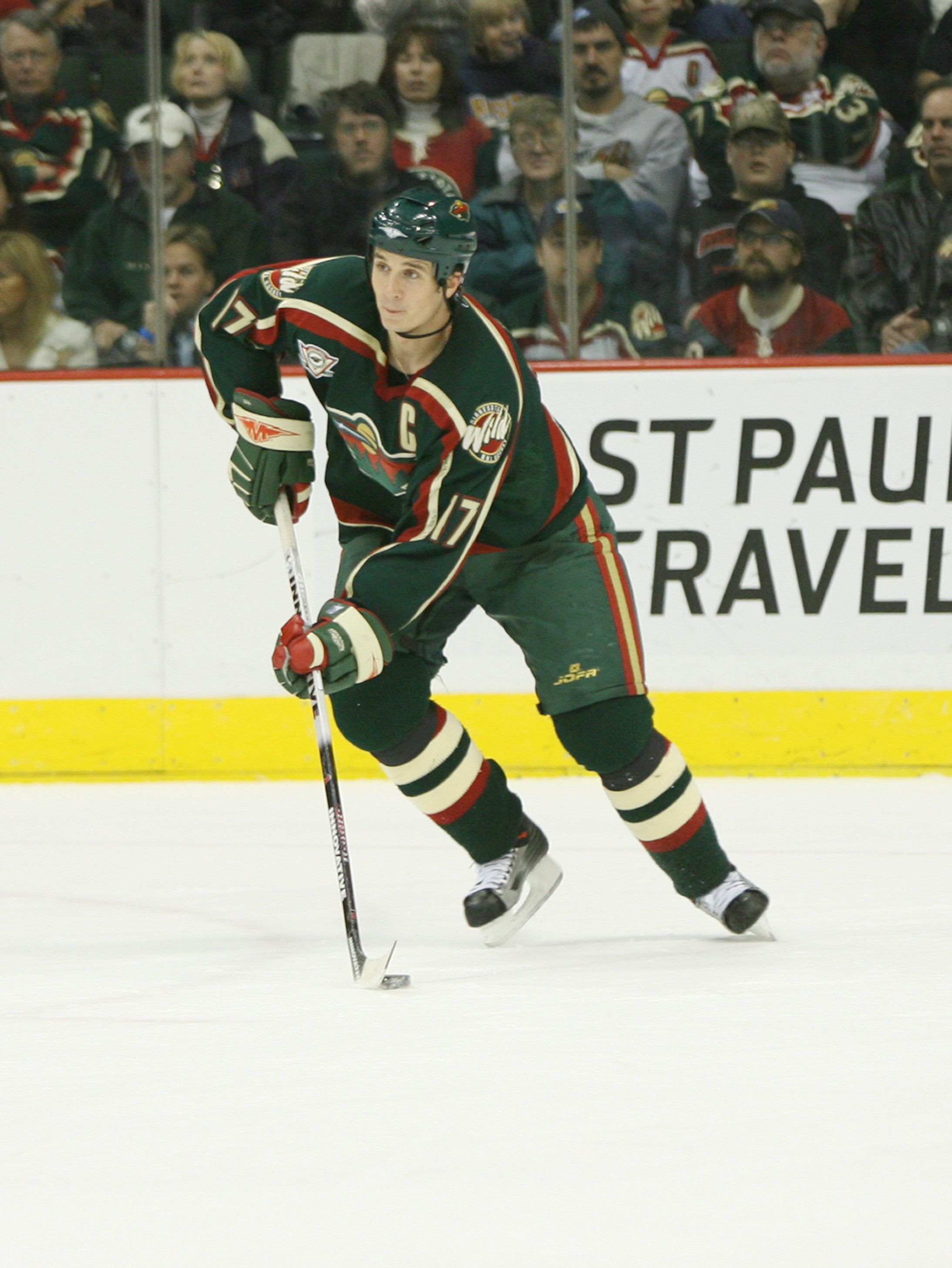 SAINT PAUL, MN - NOVEMBER 23:  Defenseman Filip Kuba #17 of the Minnesota Wild skates with the puck against the Edmonton Oilers at Xcel Energy Center on November 23, 2005 in Saint Paul, Minnesota.  The Oilers defeated the Wild 4-3. (Photo by David Sherman