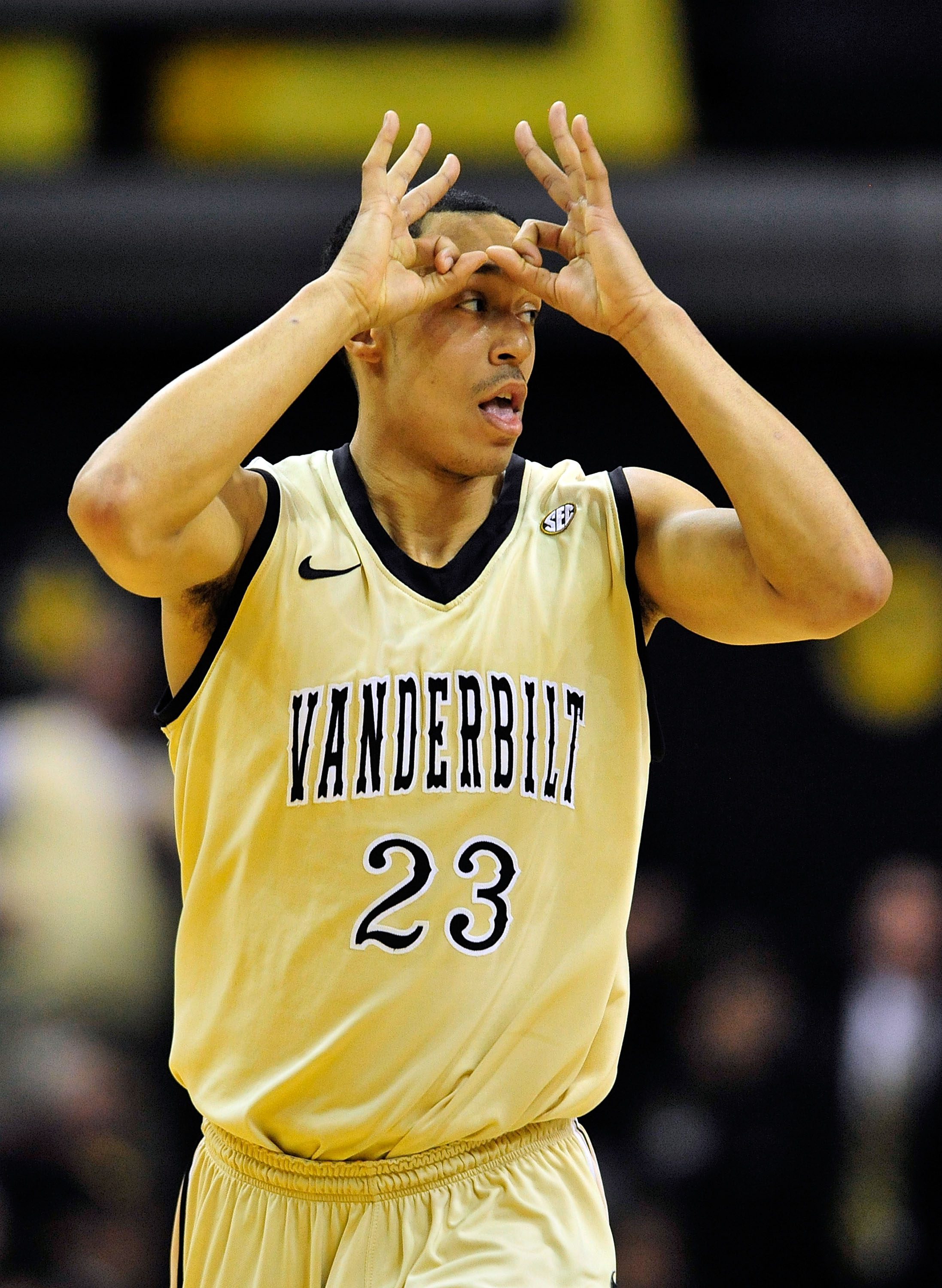 NASHVILLE, TN - FEBRUARY 12:  John Jenkins #23 of the Vanderbilt Commodores reacts after making a three-point basket against the Kentucky Wildcats at Memorial Gym on February 12, 2011 in Nashville, Tennessee.  (Photo by Grant Halverson/Getty Images)