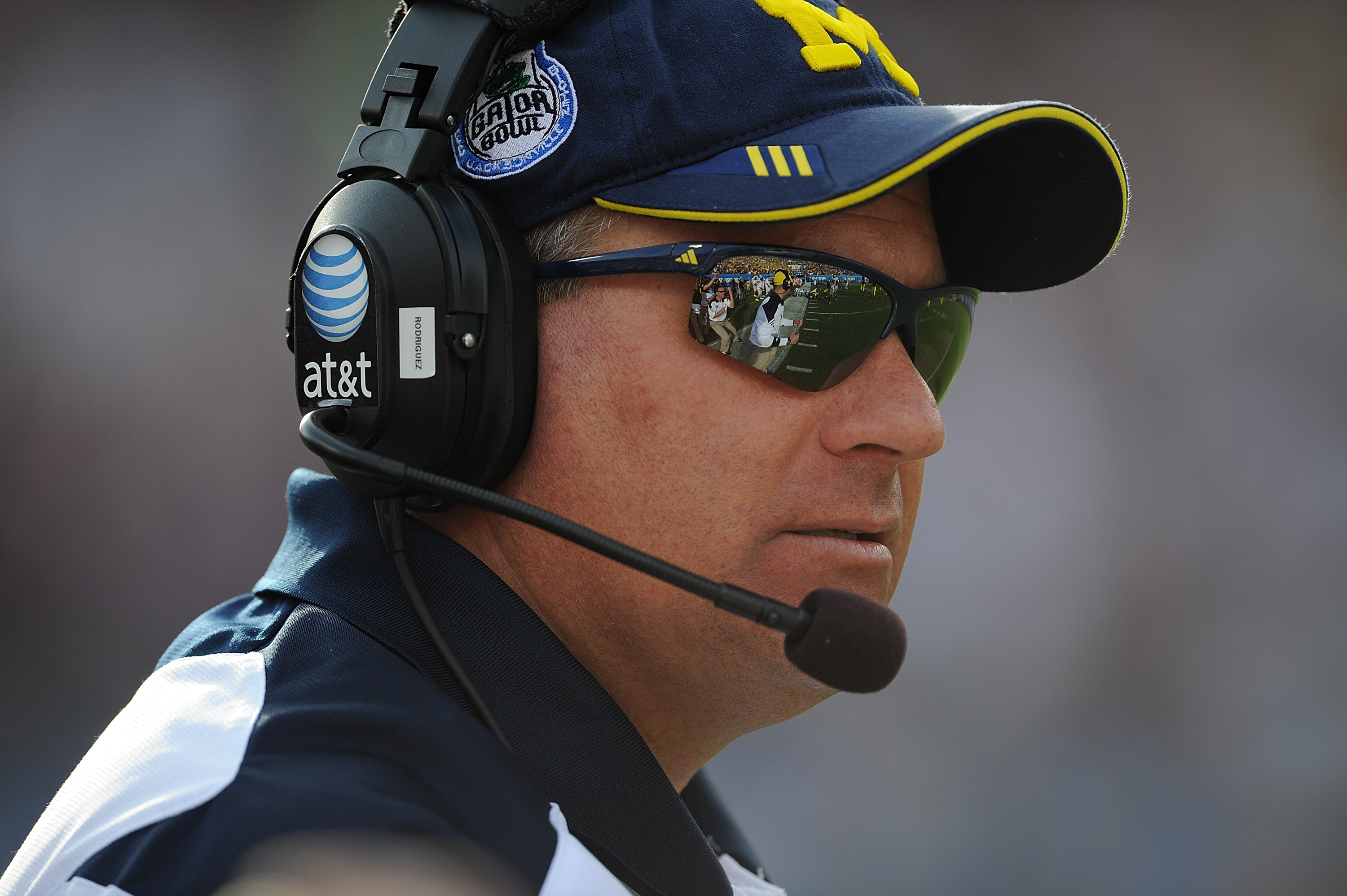 JACKSONVILLE, FL - JANUARY 01:  Head Coach Rich Rodriguez of the University of Michigan Wolverines during the Gator Bowl at EverBank Field on January 1, 2011 in Jacksonville, Florida  (Photo by Rick Dole/Getty Images)