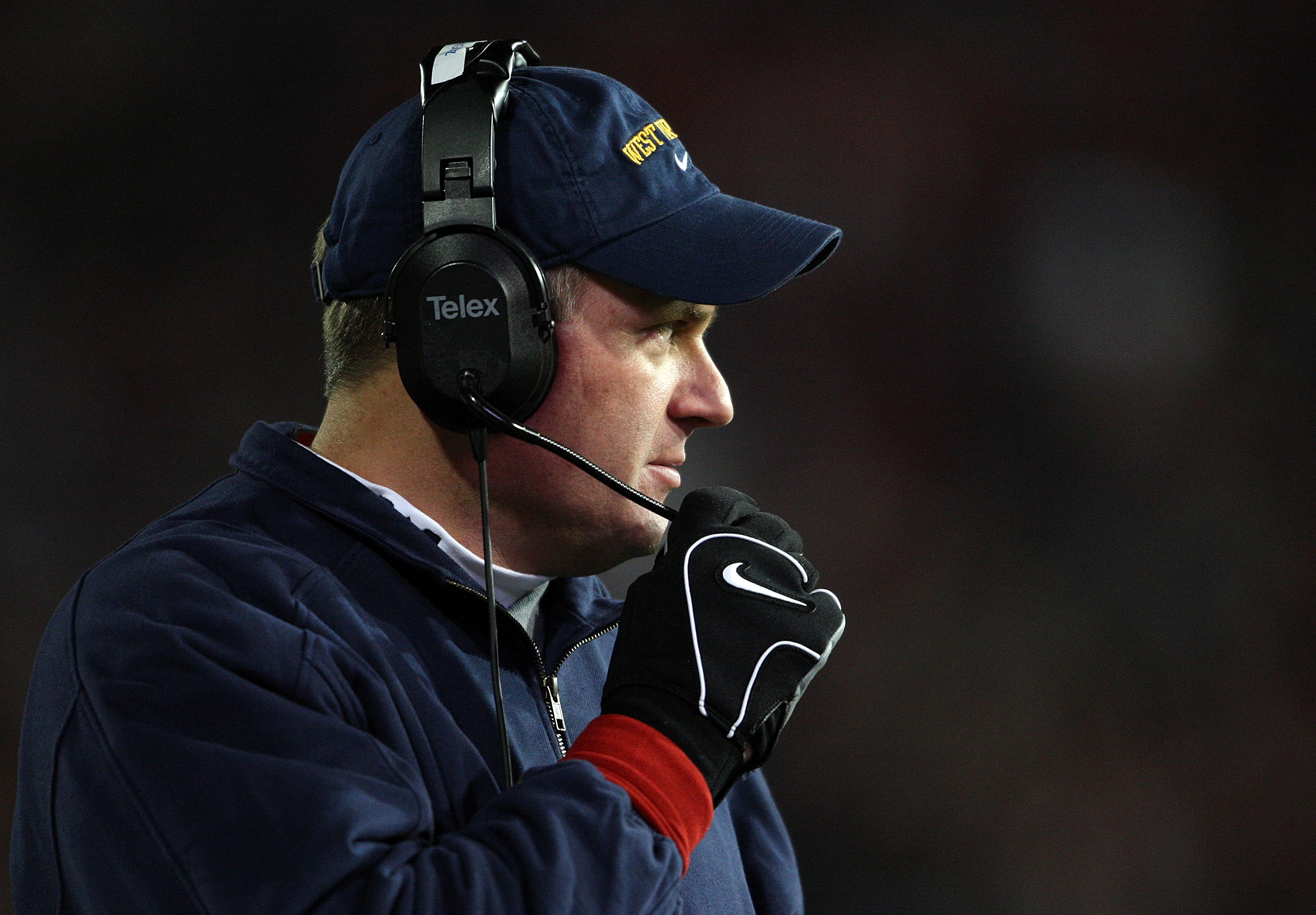 CINCINNATI - NOVEMBER 17:  Head Coach Rich Rodriguez of the West Virginia Mountaineers looks on during the Big East Conference game against the Cincinnati Bearcats at Nippert Stadium November 17, 2007 in Cincinnati, Ohio.  (Photo by Andy Lyons/Getty Image