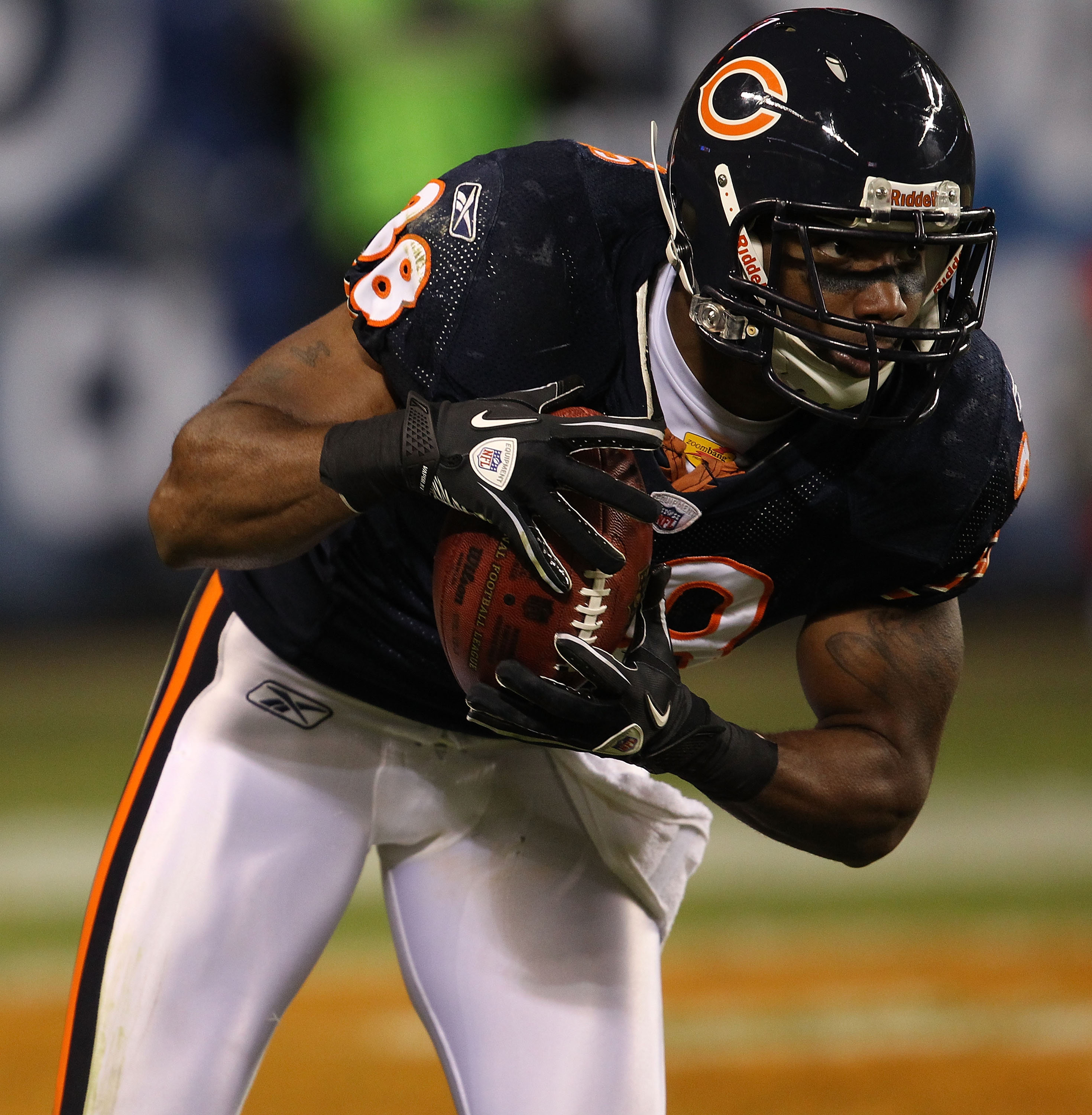 CHICAGO - NOVEMBER 28: Danieal Manning #38 of the Chicago Bears fields a kick against the Philadelphia Eagles at Soldier Field on November 28, 2010 in Chicago, Illinois. The Bears defeated the Eagles 31-26. (Photo by Jonathan Daniel/Getty Images)