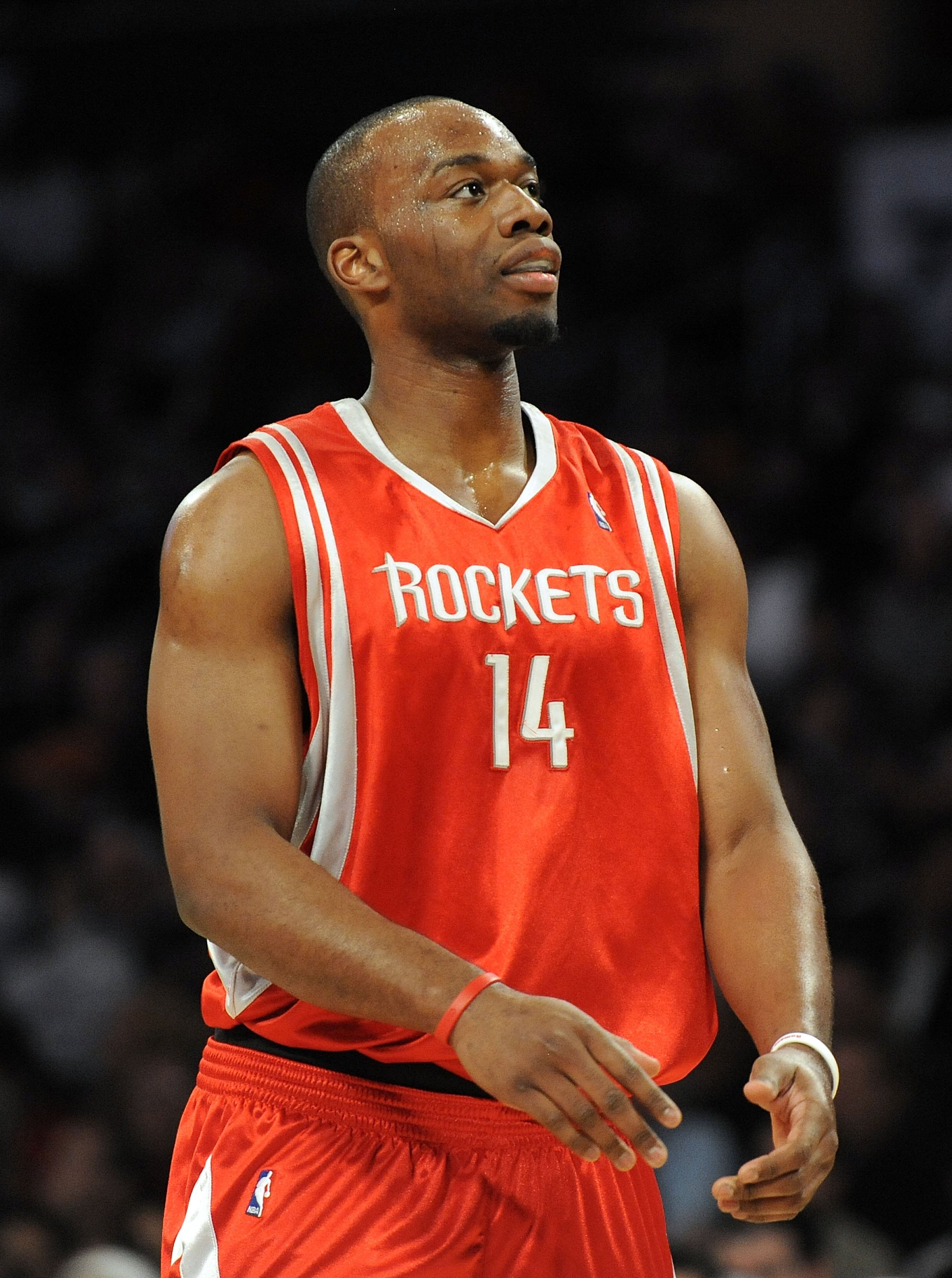 LOS ANGELES, CA - JANUARY 05:  Carl Landry #14 of the Houston Rockets reacts after a foul during the game against the Los Angeles Lakers at Staples Center on January 5, 2010 in Los Angeles, California.  NOTE TO USER: User expressly acknowledges and agrees