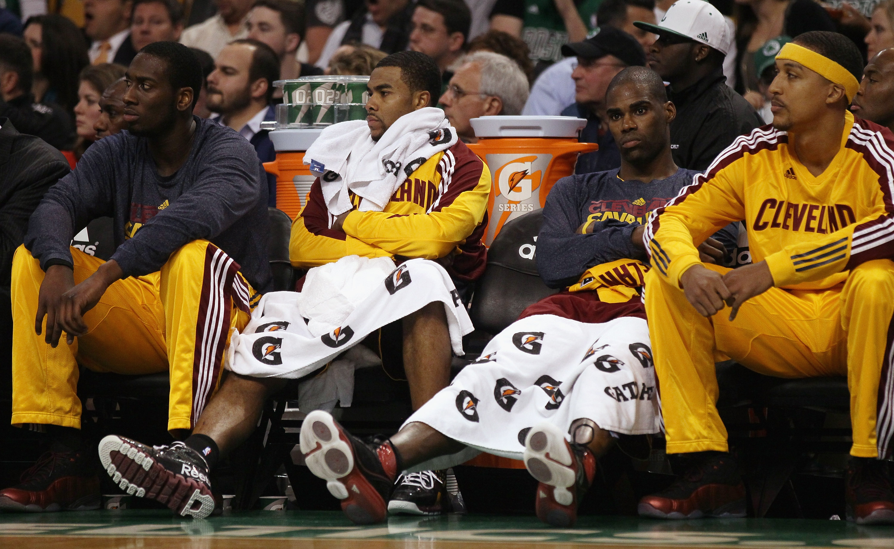 BOSTON, MA - JANUARY 25:  Member of the Cleveland Cavaliers react on the bench as they lose their 18th straight game this season on January 25, 2011 at the TD Garden in Boston, Massachusetts. The Boston Celtics defeated the Cavaliers 112-95.  NOTE TO USER