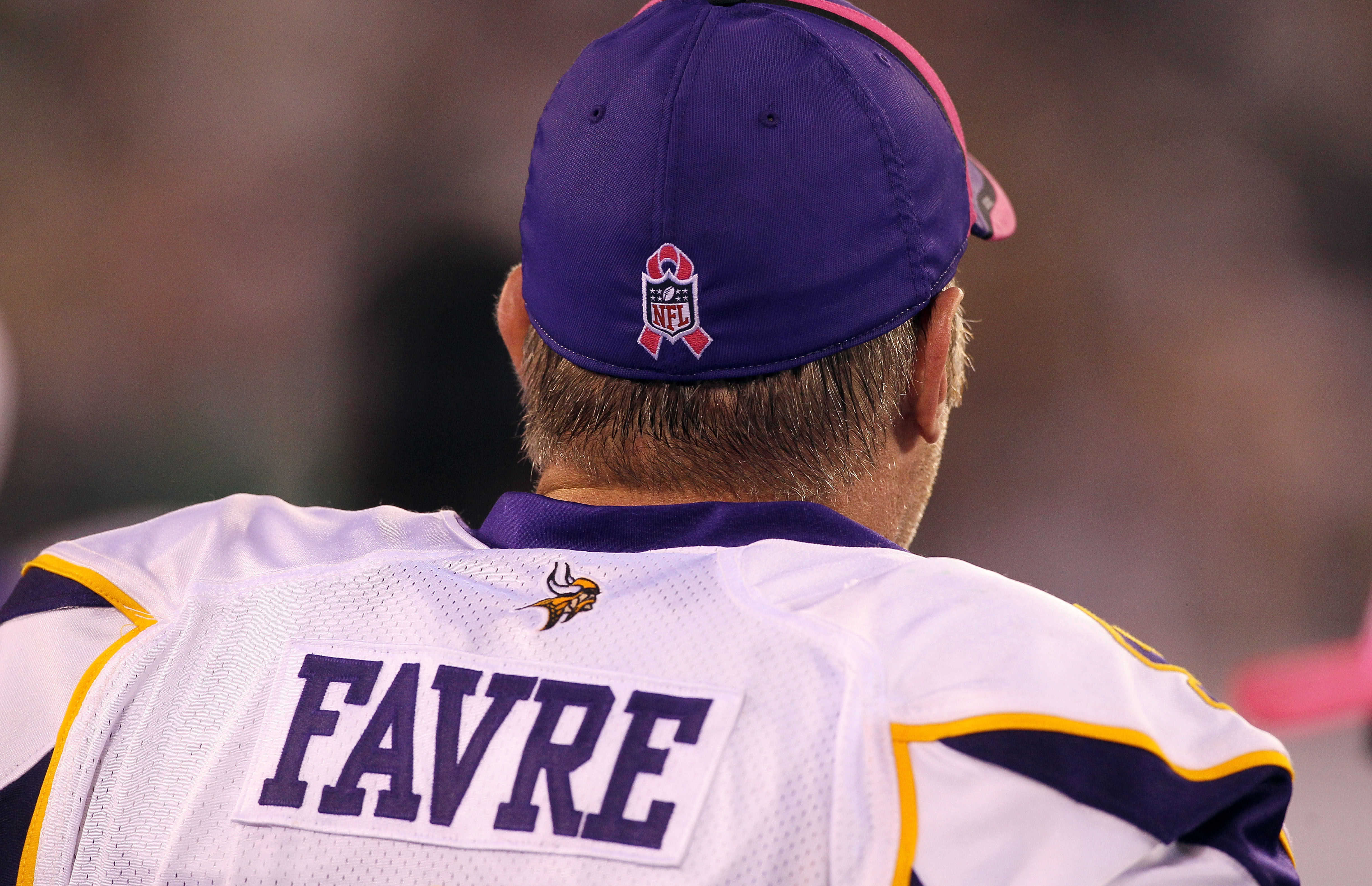 EAST RUTHERFORD, NJ - OCTOBER 11:  A detail of a Breast Cancer awareness ribbon is seen on the hat worn by Brett Favre #4 of the Minnesota Vikings against the New York Jets at New Meadowlands Stadium on October 11, 2010 in East Rutherford, New Jersey.  (P