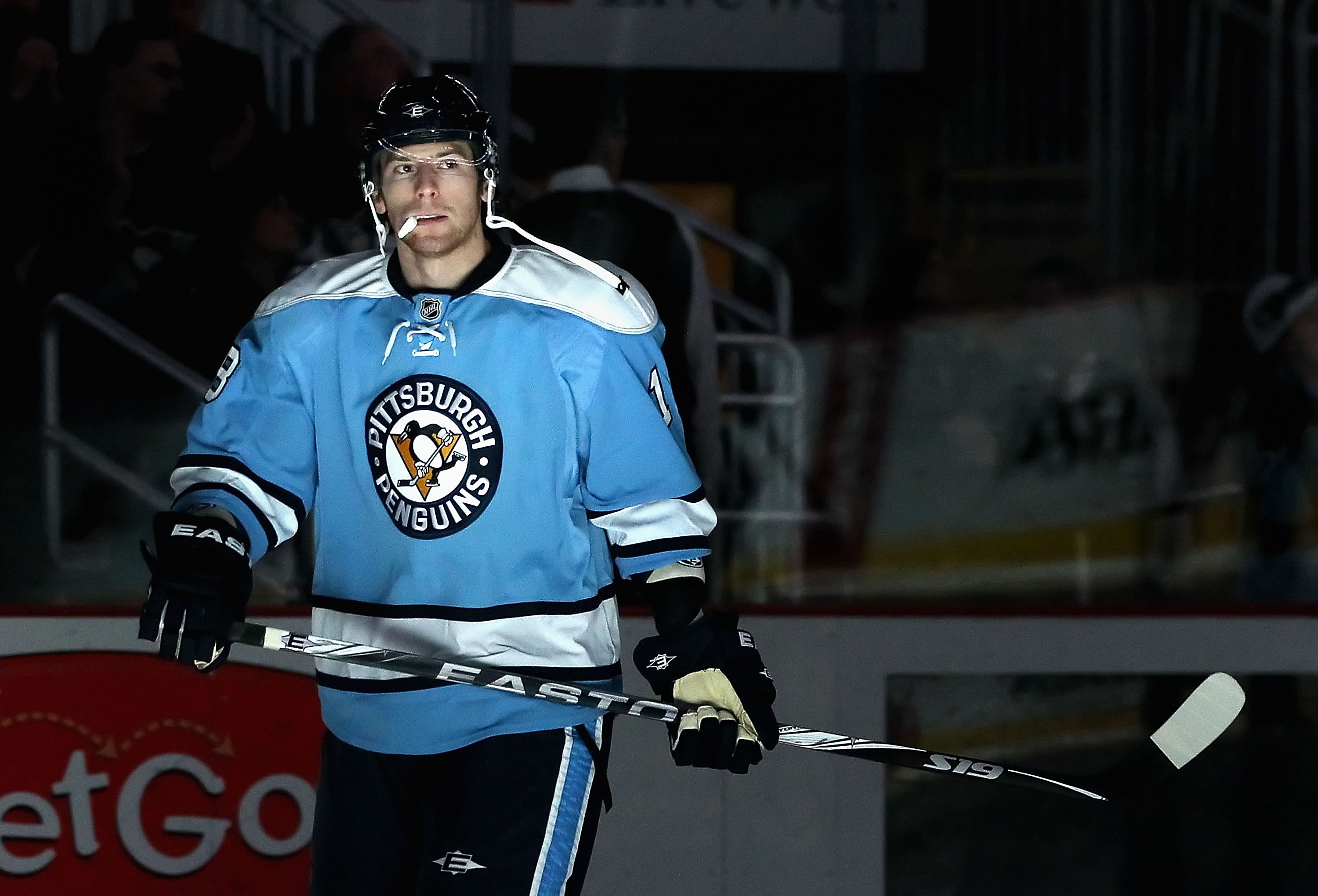 PITTSBURGH, PA - FEBRUARY 23:  James Neal #18 of the Pittsburgh Penguins skates on the ice before the start of the first period of the NHL game against the San Jose Sharks at Consol Energy Center on February 23, 2011 in Pittsburgh, Pennsylvania.  (Photo b