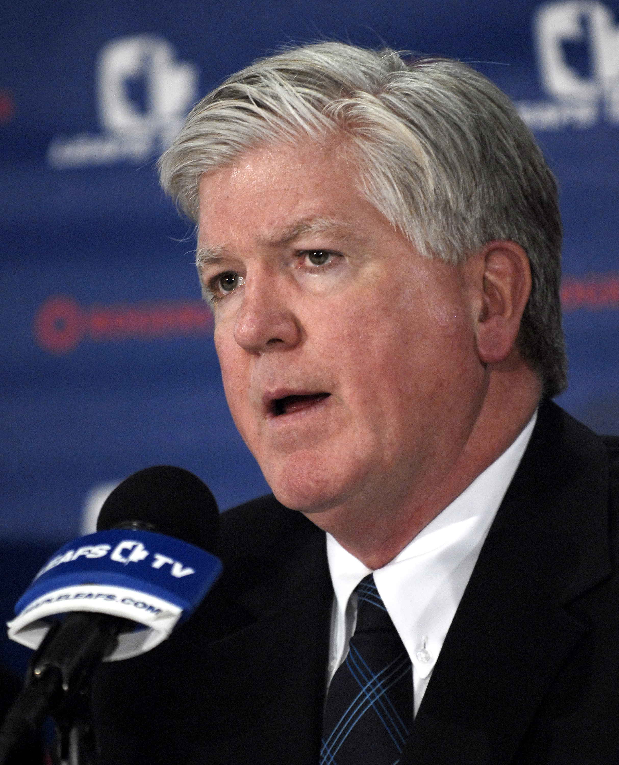 TORONTO - NOVEMBER 29:   Brian Burke speaks to the media after being named President and General Manger of the Toronto Maple Leafs November 29, 2008 at the Air Canada Centre in Toronto, Ontario, Canada. (Photo by Brad White/Getty Images)