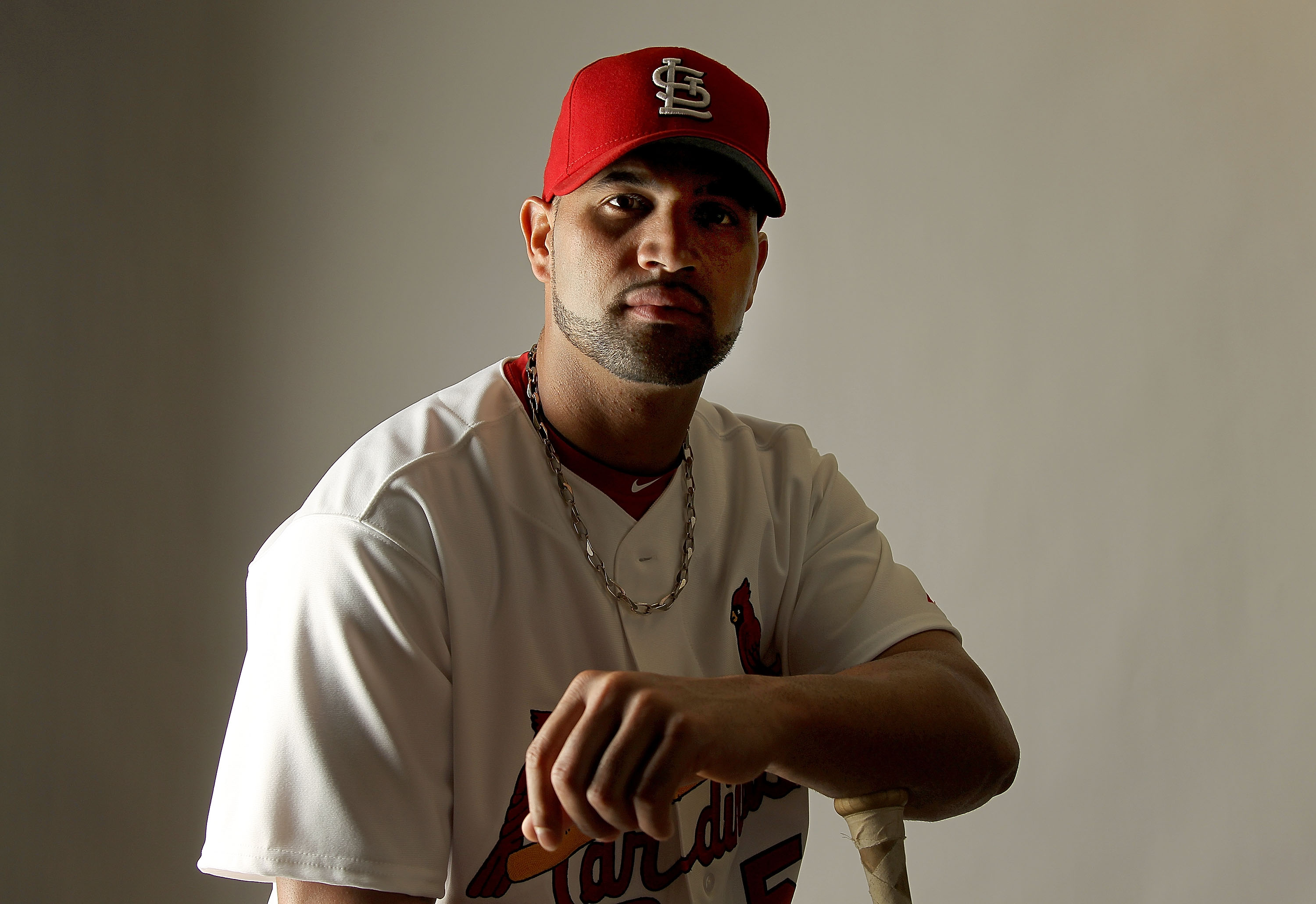 JUPITER, FL - FEBRUARY 24: Albert Pujols #5 of the St. Louis Cardinals poses for a portrait during Photo Day at Roger Dean Stadium on February 24, 2011 in Jupiter, Florida.  (Photo by Mike Ehrmann/Getty Images)