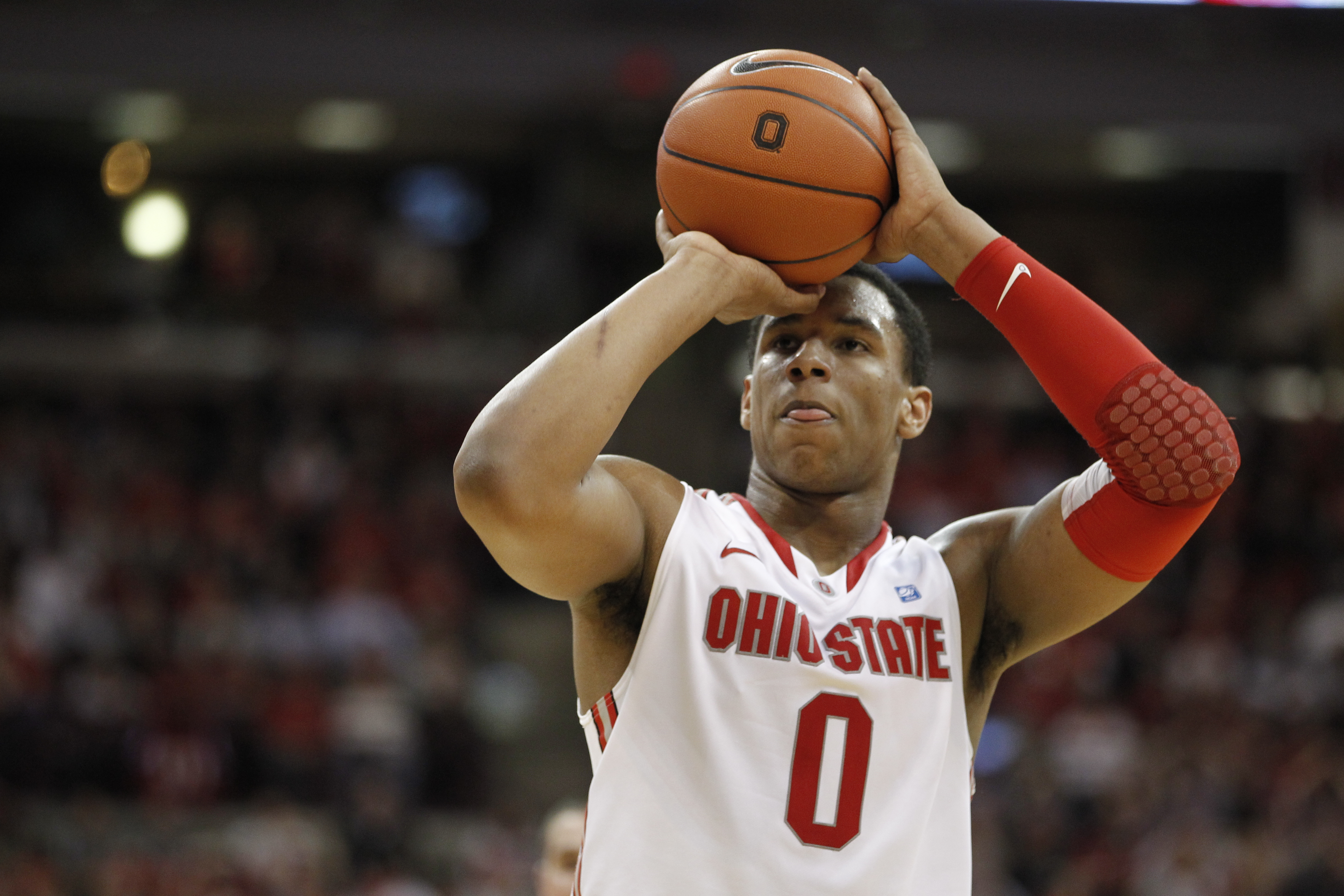 COLUMBUS, OH - FEBRUARY 15:  Jared Sullinger #0 of the Ohio State Buckeyes shoots a free throw while playing the Michigan State Spartans on February 15, 2011 at Value City Arena in Columbus, Ohio.  (Photo by Gregory Shamus/Getty Images)