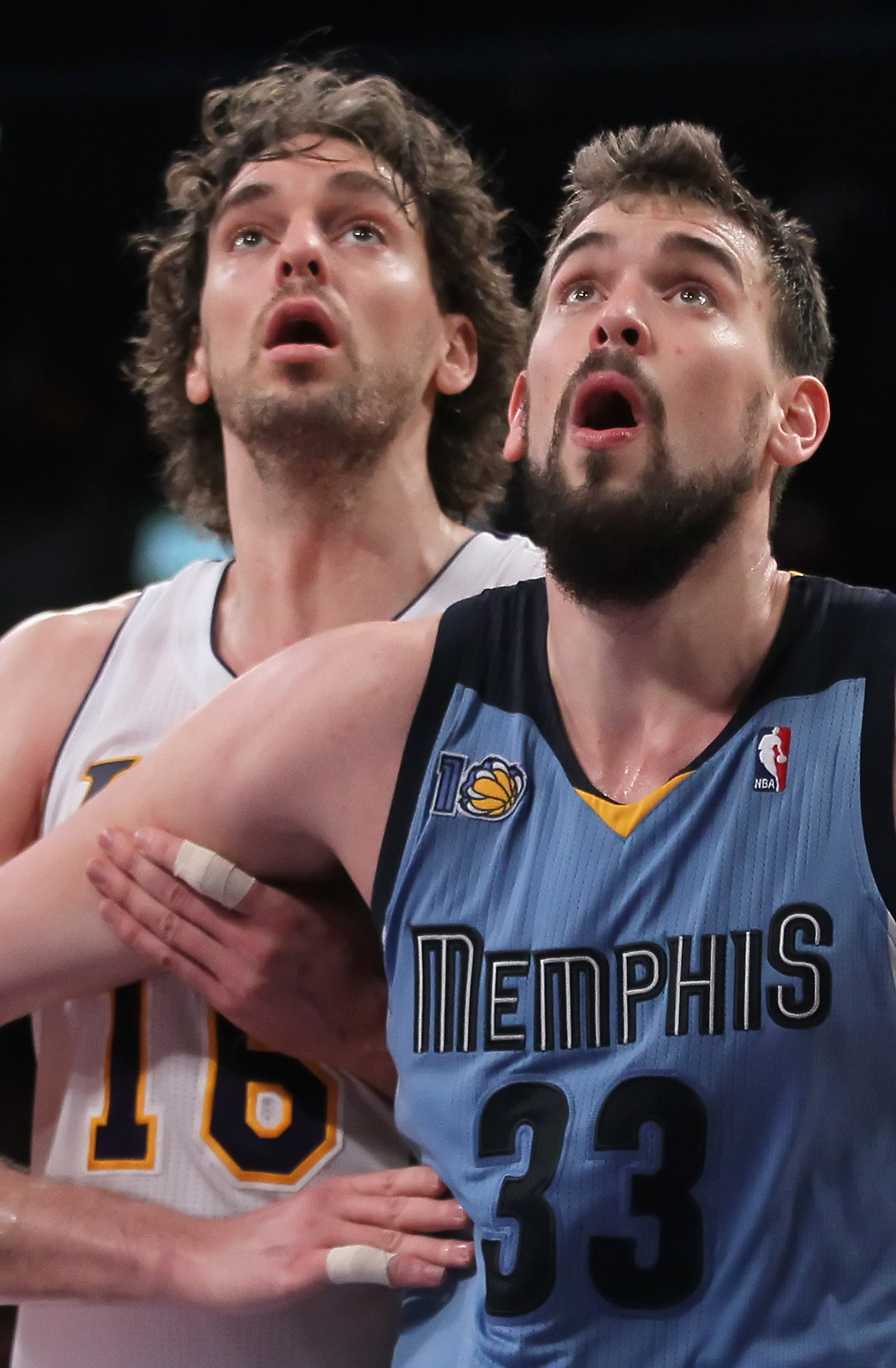 LOS ANGELES, CA - JANUARY 02:  Pau Gasol #16 of the Los Angeles Lakers is boxed out by Marc Gasol #33 of the Memphis Grizzlies during the second half at Staples Center on January 2, 2011 in Los Angeles, California. The Grizzlies defeated the Lakers 104-85