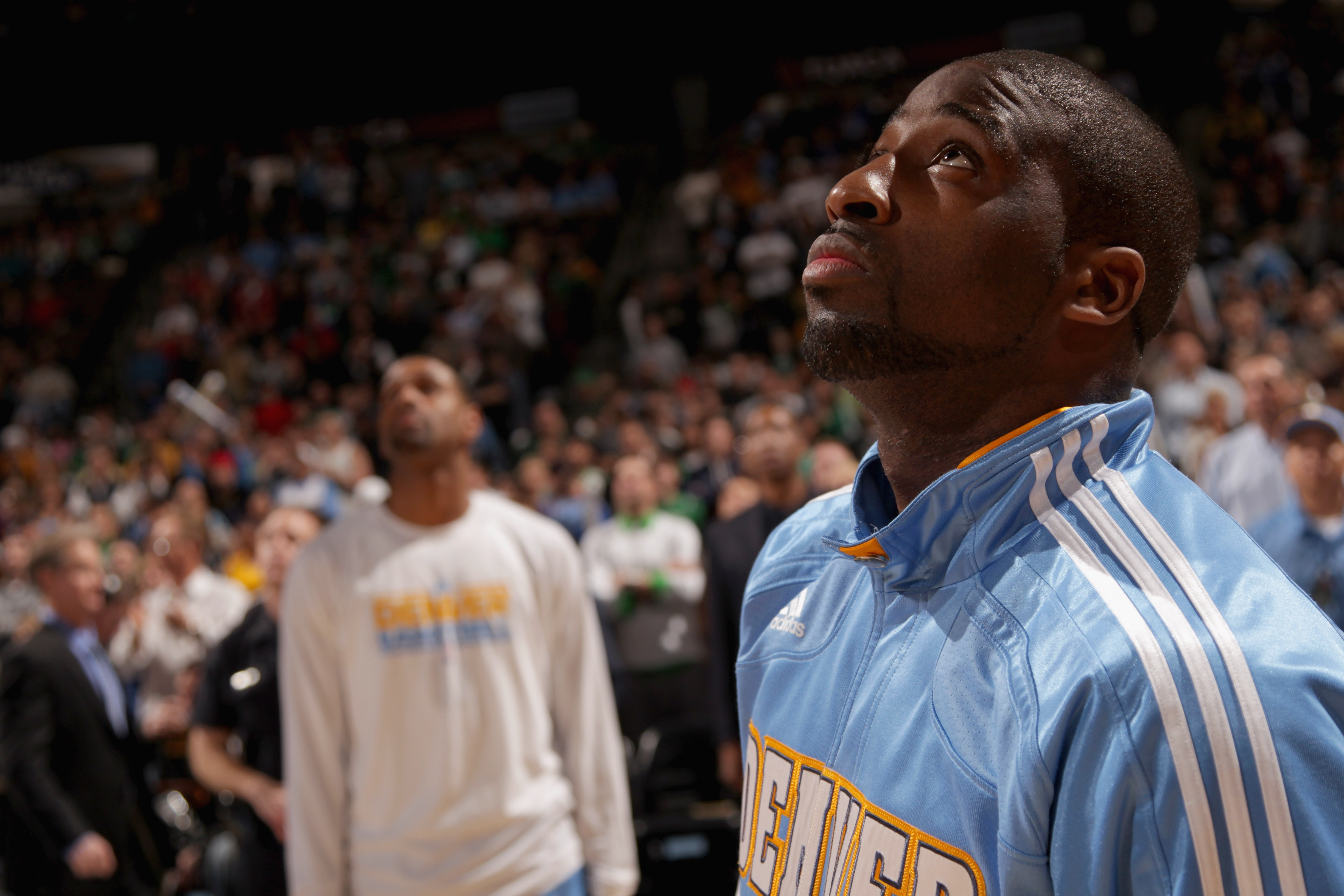 DENVER, CO - FEBRUARY 24:  Raymond Felton #20 of the Denver Nuggets looks on during pregame festivities prior to facing the Boston Celtics during NBA action at the Pepsi Center on February 24, 2011 in Denver, Colorado. The Nuggets defeated the Celtics 89-