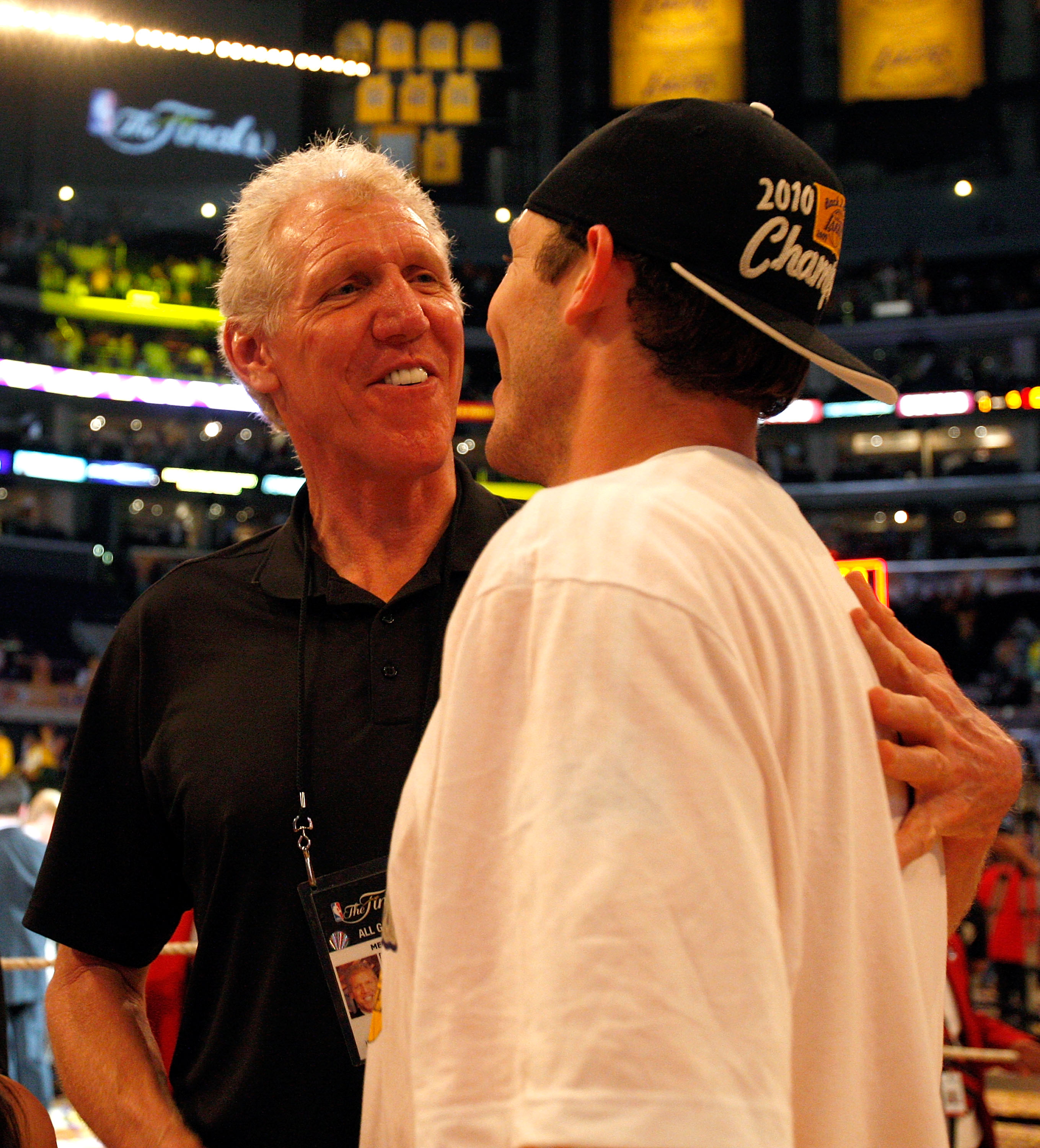 LOS ANGELES, CA - JUNE 17:  (R-L) Luke Walton #4 and father Bill Walton celebrate the Los Angeles Lakers 83-79 victory against the Boston Celtics in Game Seven of the 2010 NBA Finals at Staples Center on June 17, 2010 in Los Angeles, California.  NOTE TO