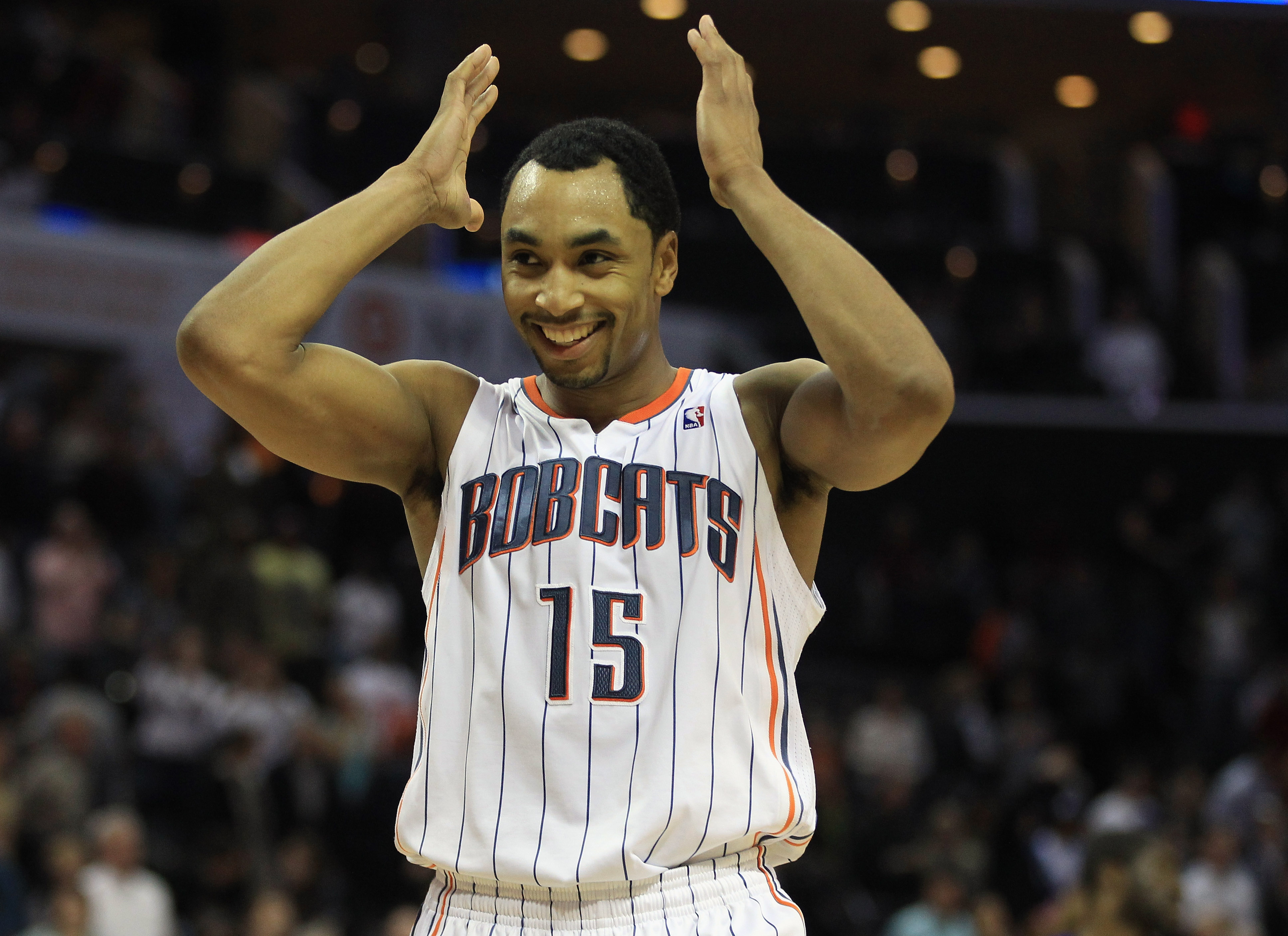 CHARLOTTE, NC - FEBRUARY 25:  Gerald Henderson #15 of the Charlotte Bobcats reacts to a play during their game against the Sacramento Kings at Time Warner Cable Arena on February 25, 2011 in Charlotte, North Carolina. NOTE TO USER: User expressly acknowle