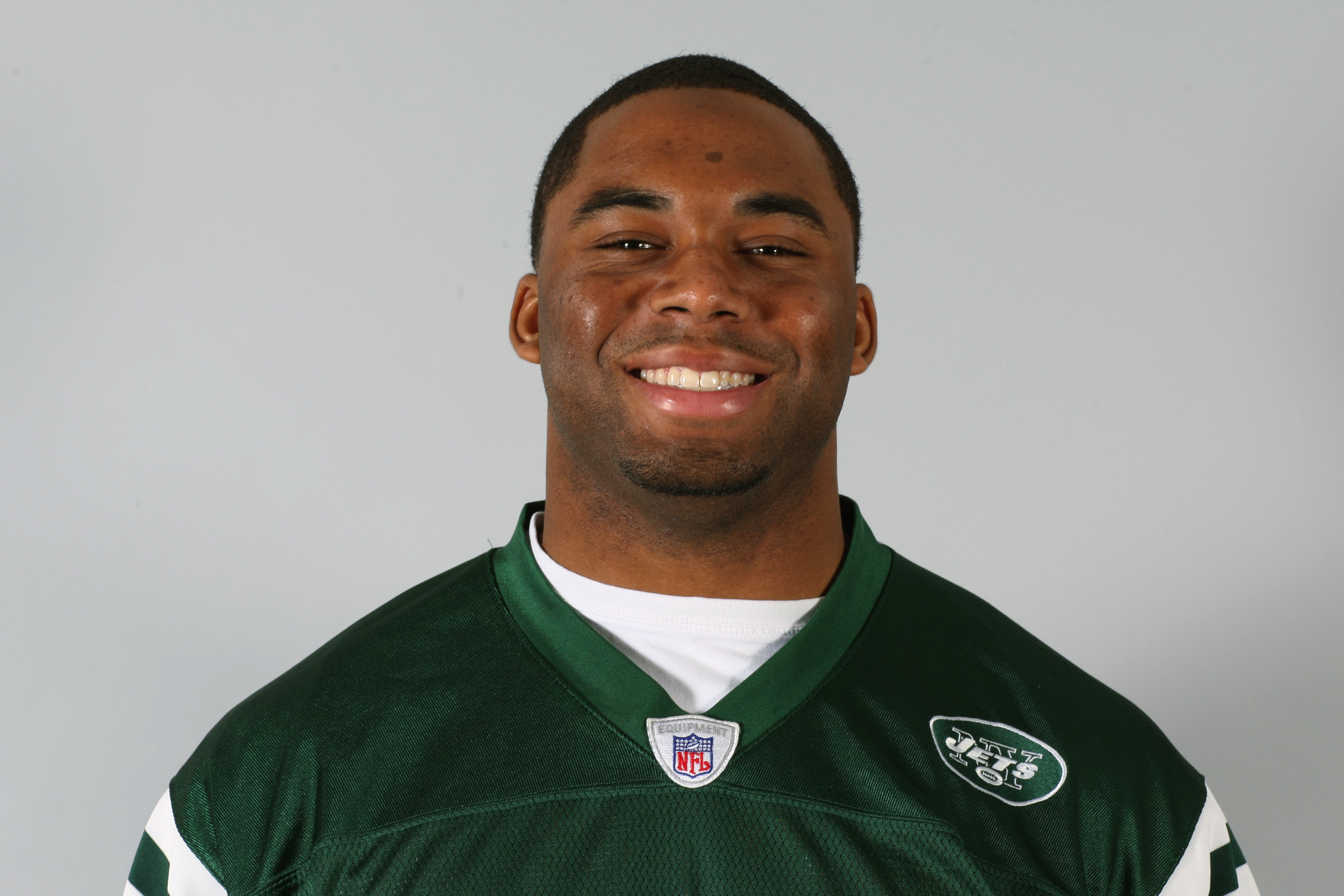 EAST RUTHERFORD, NJ - 2009:  Vernon Gholston of the New York Jets poses for his 2009 NFL headshot at photo day in East Rutherford, New Jersey.  (Photo by NFL Photos)