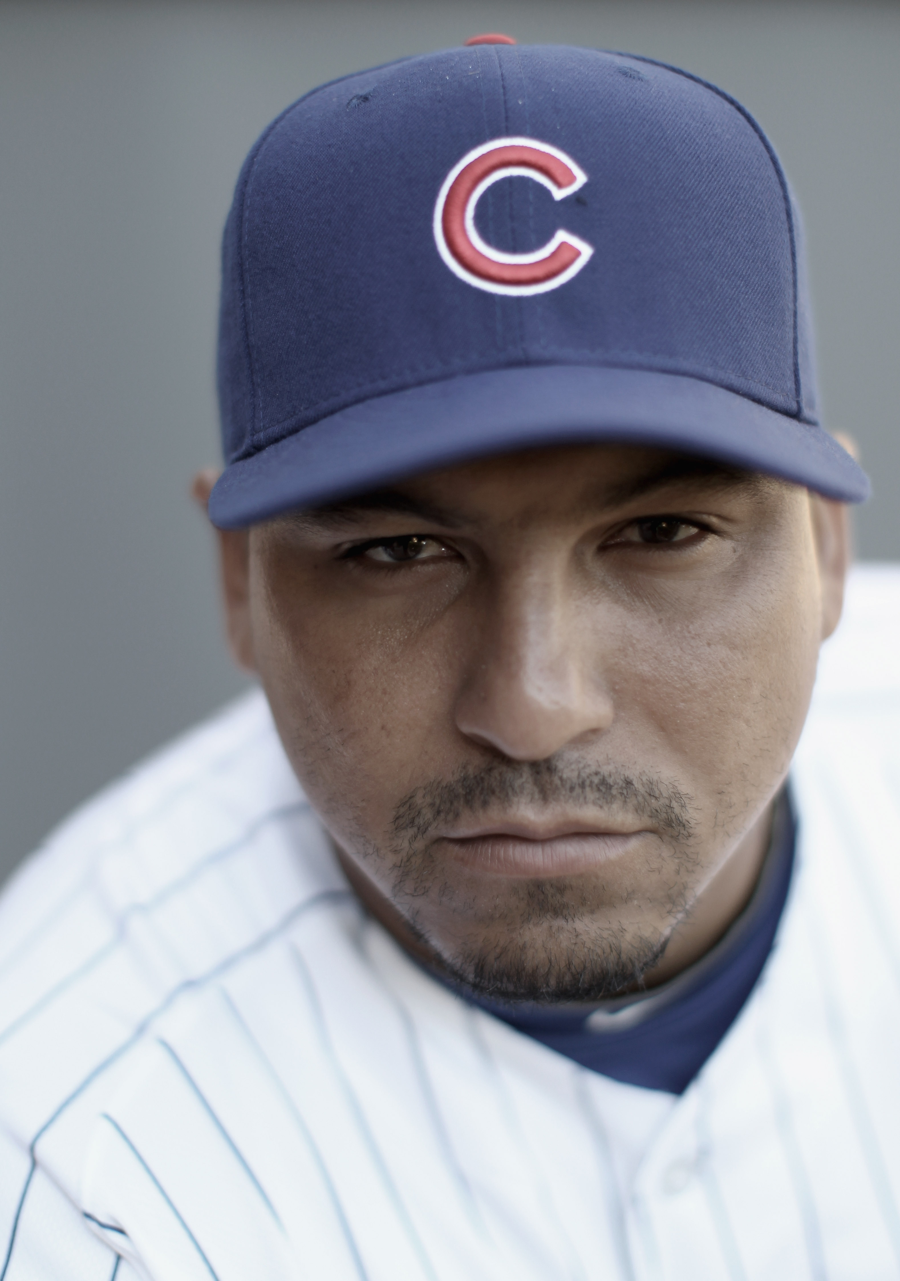 MESA, AZ - FEBRUARY 22:  (EDITORS NOTE : THIS IMAGE HAS BEEN DIGITALLY DESATURATED.)  Carlos Zambrano #38 of the Chicago Cubs poses for a portrait during media photo day at Finch Park on February 22, 2011 in Mesa, Arizona.  (Photo by Ezra Shaw/Getty Image