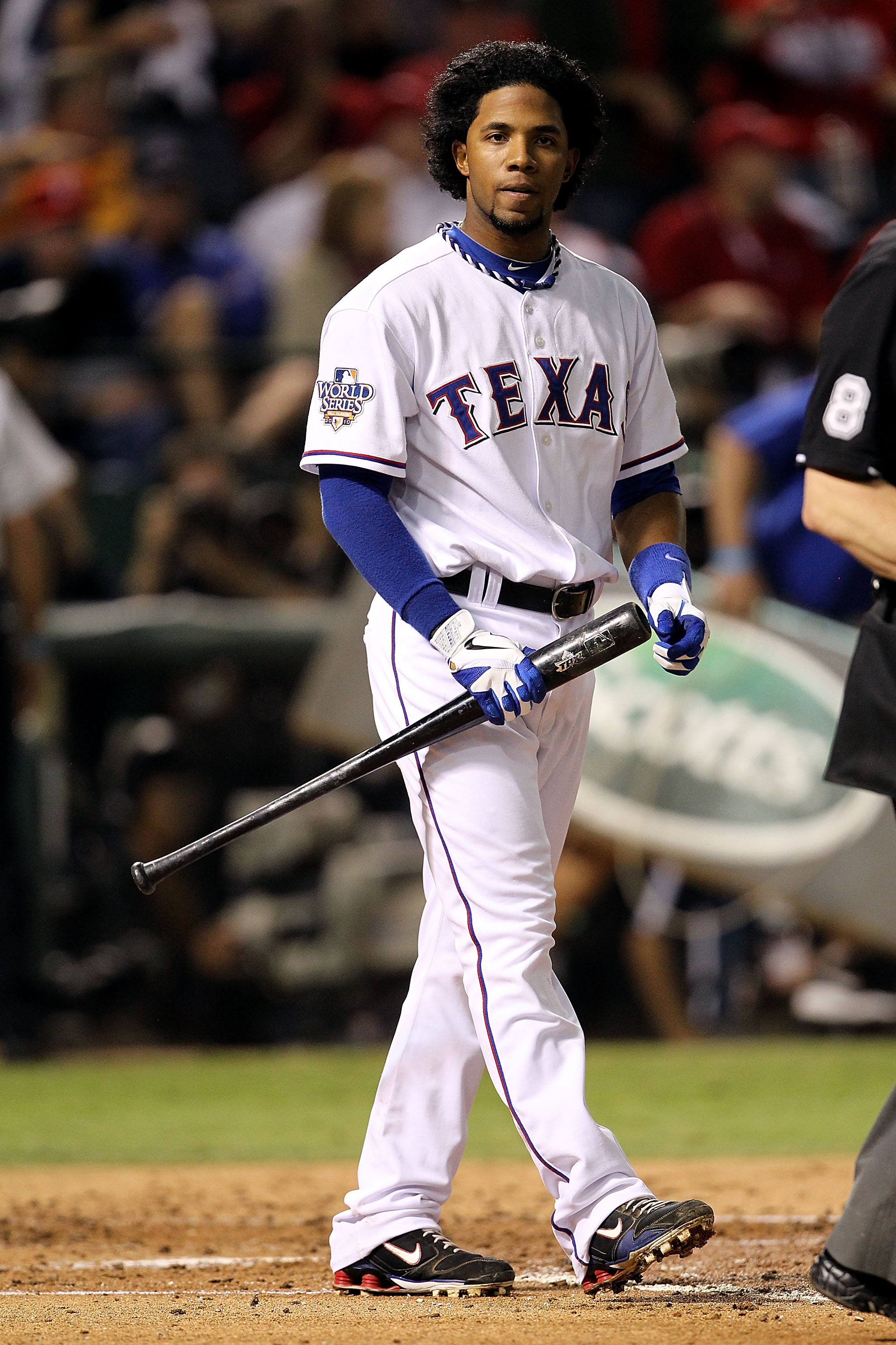 ARLINGTON, TX - NOVEMBER 01:  Elvis Andrus #1 of the Texas Rangers reacts after he struck out against the San Francisco Giants in Game Five of the 2010 MLB World Series at Rangers Ballpark in Arlington on November 1, 2010 in Arlington, Texas. The Giants w