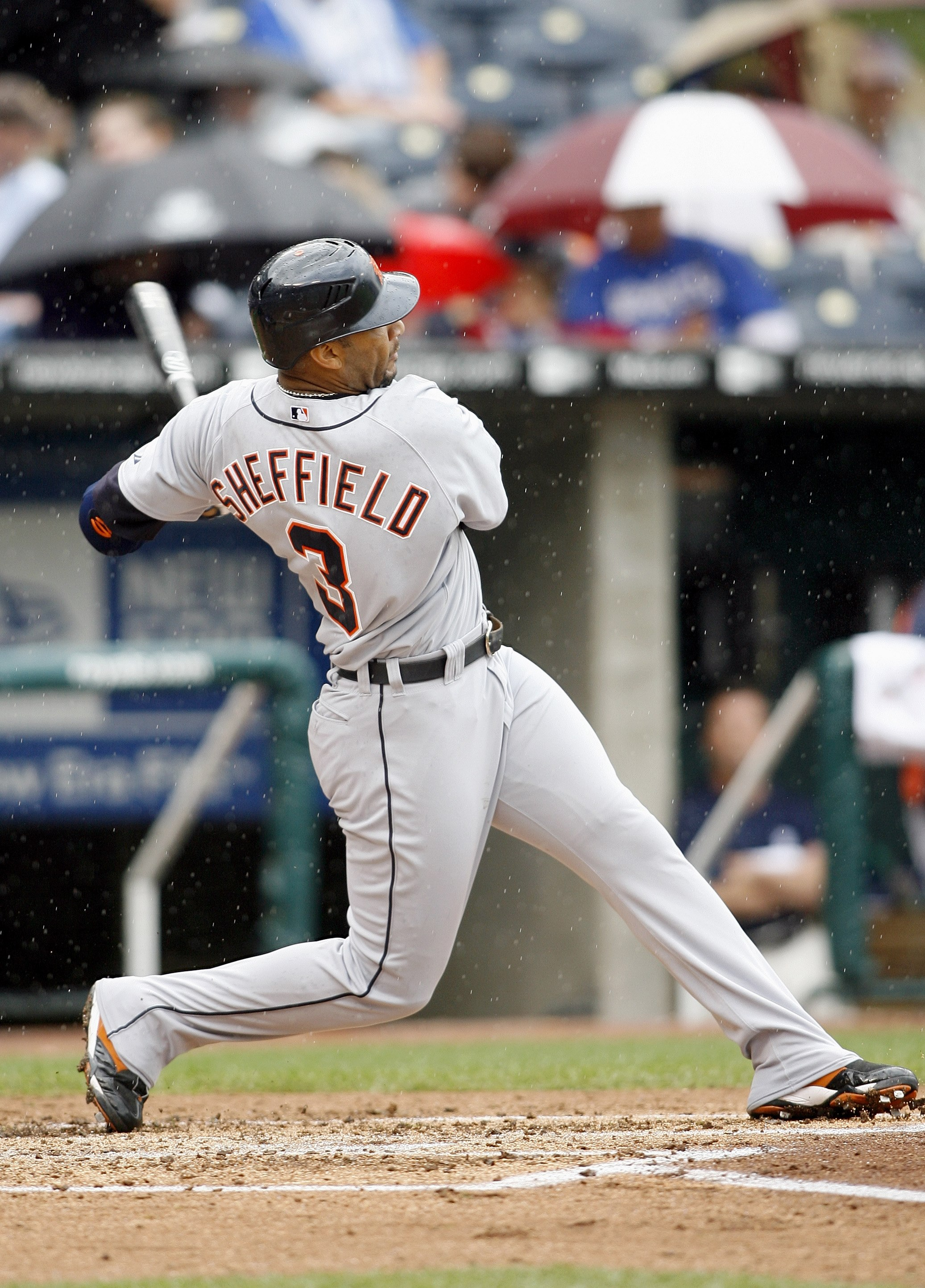 KANSAS CITY, MO - MAY 6: Gary Sheffield #3 of the Detroit Tigers swings at the pitch against the Kansas City Royals on May 6, 2007 at Kauffman Stadium in Kansas City, Missouri.  (Photo by G. Newman Lowrance/Getty Images)